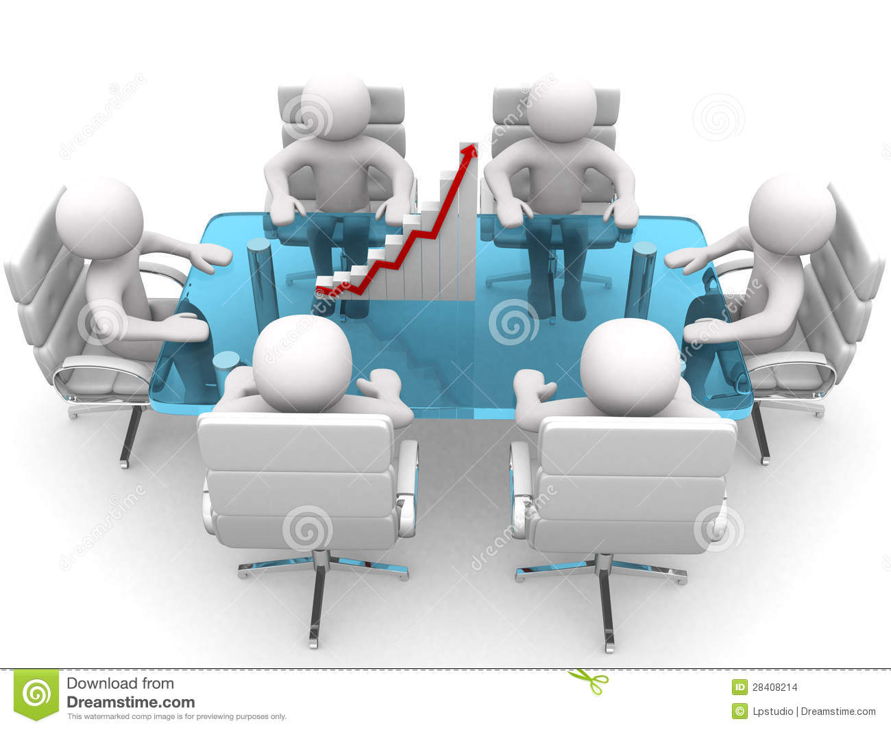 3d Person Sitting At Table And Having Business Meeting