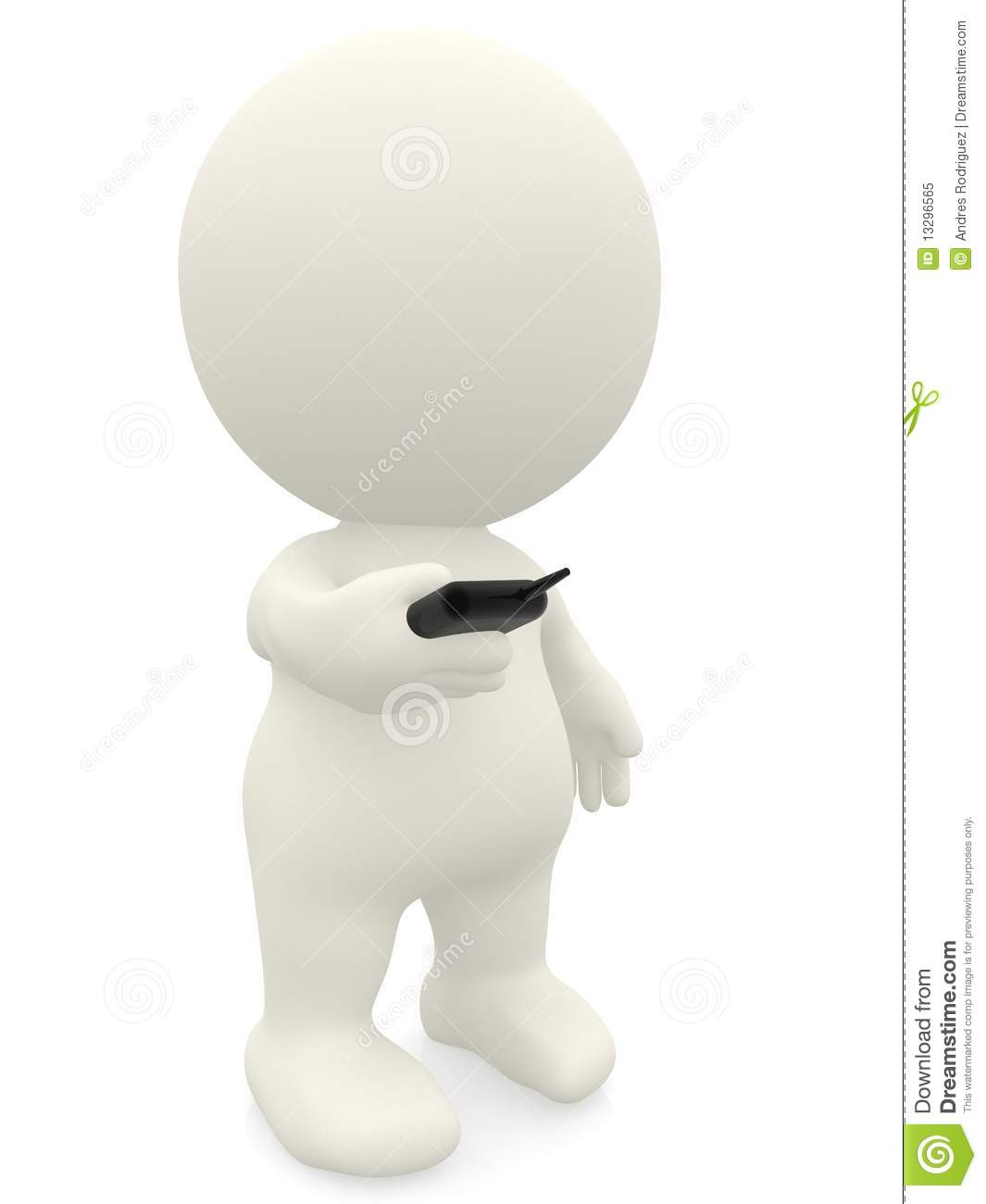 3d Person Texting On His Phone Stock Illustration