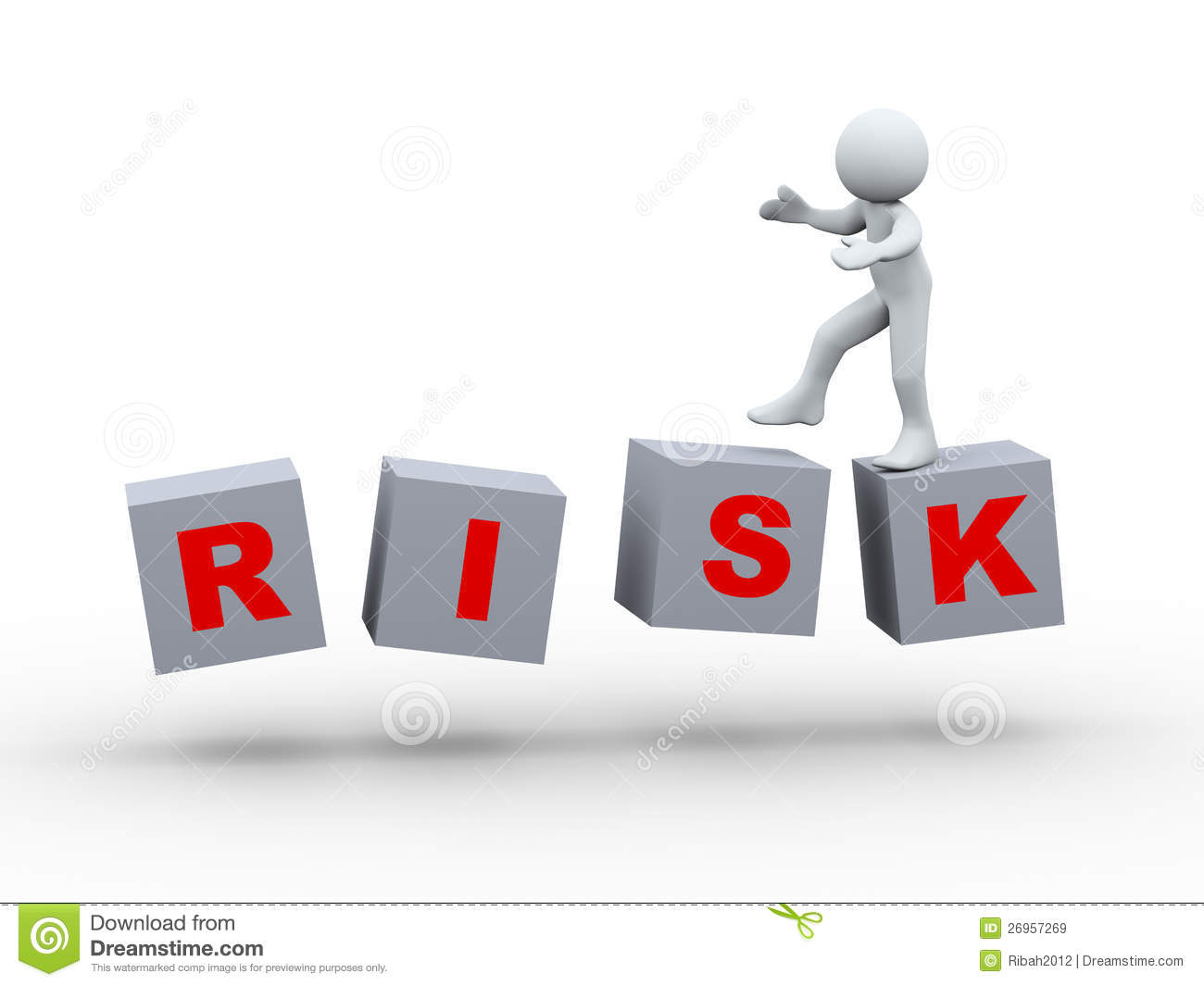 3d person walking on risk cube royalty free stock images