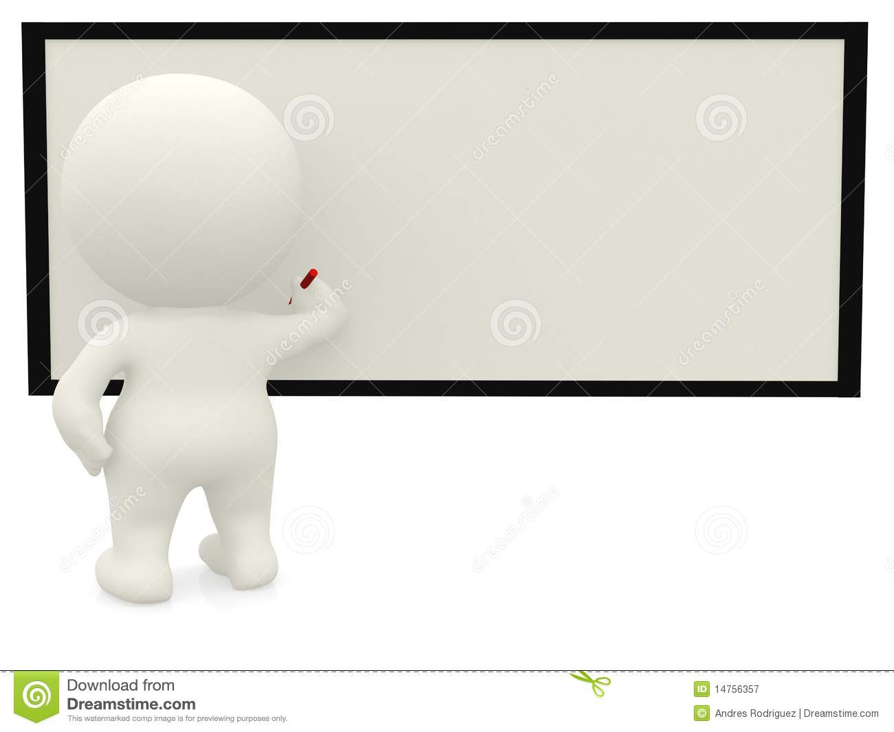 3D Person Writing On The Board Stock Illustration ...
