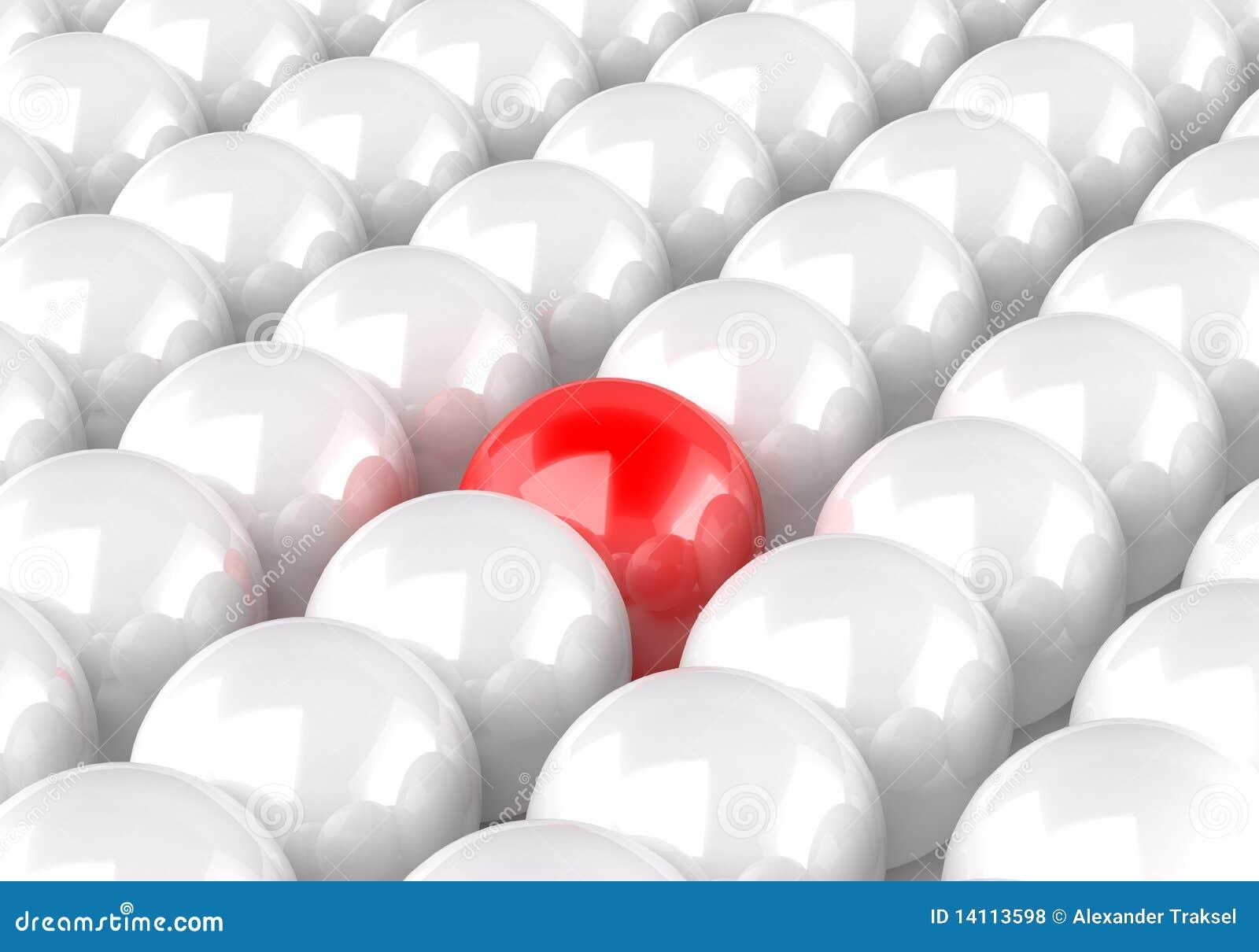 3d piłki wśrodku renderingu jeden czerwonego biel