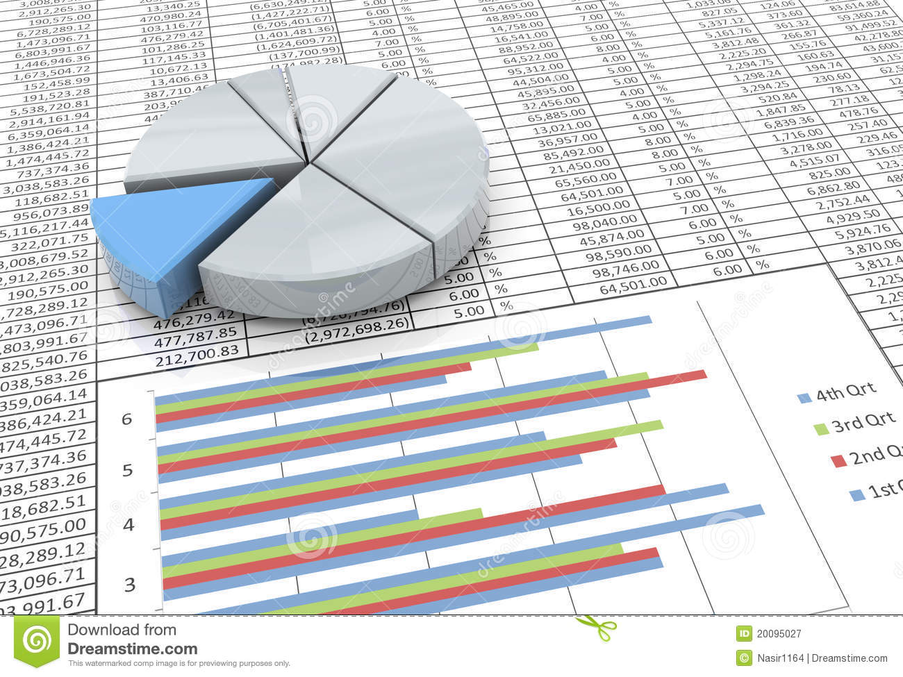 3d pie chart on spreadsheet background stock illustration