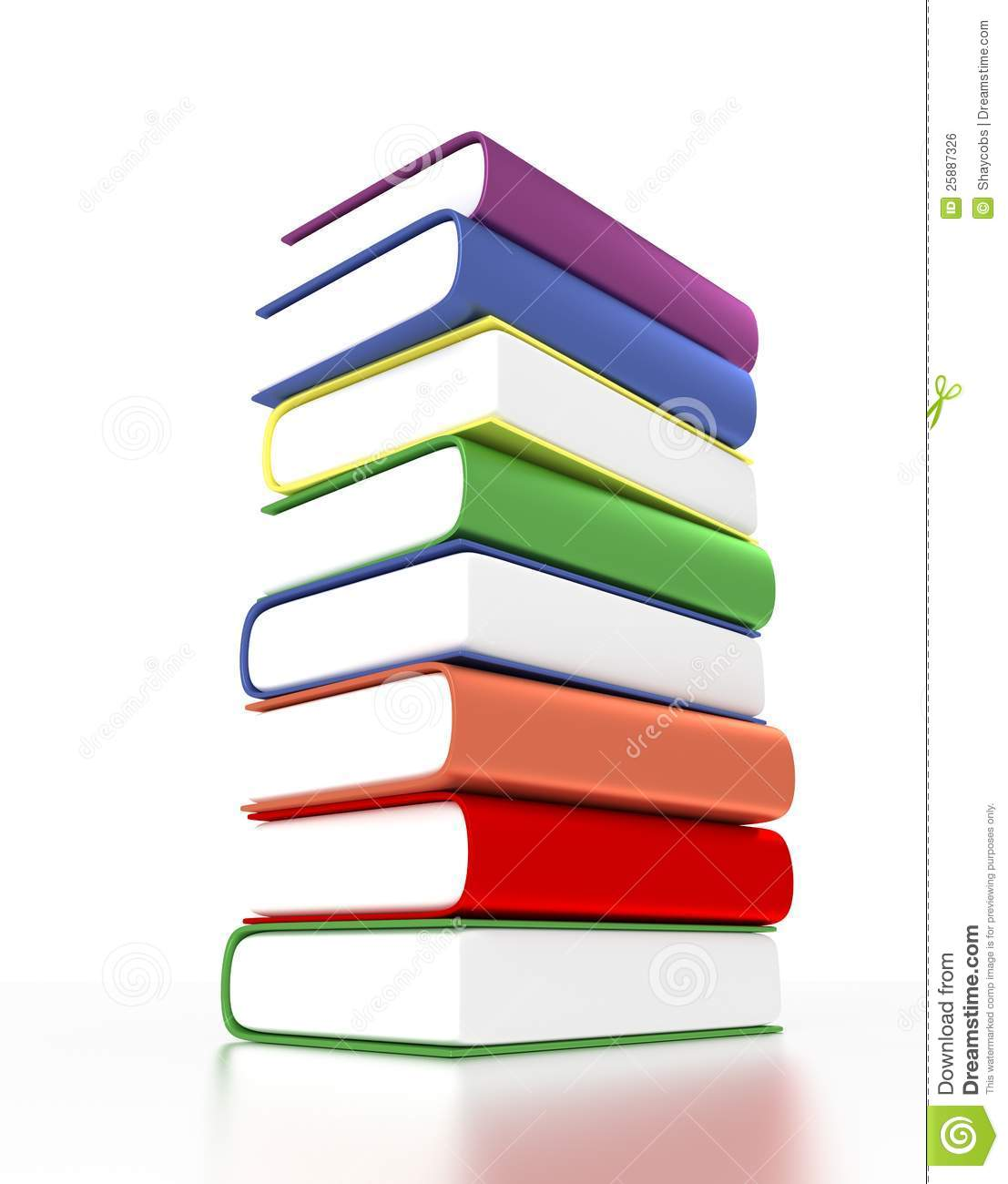 3d Pile Of Books With Different Colors Royalty Free Stock Image Image 25887326