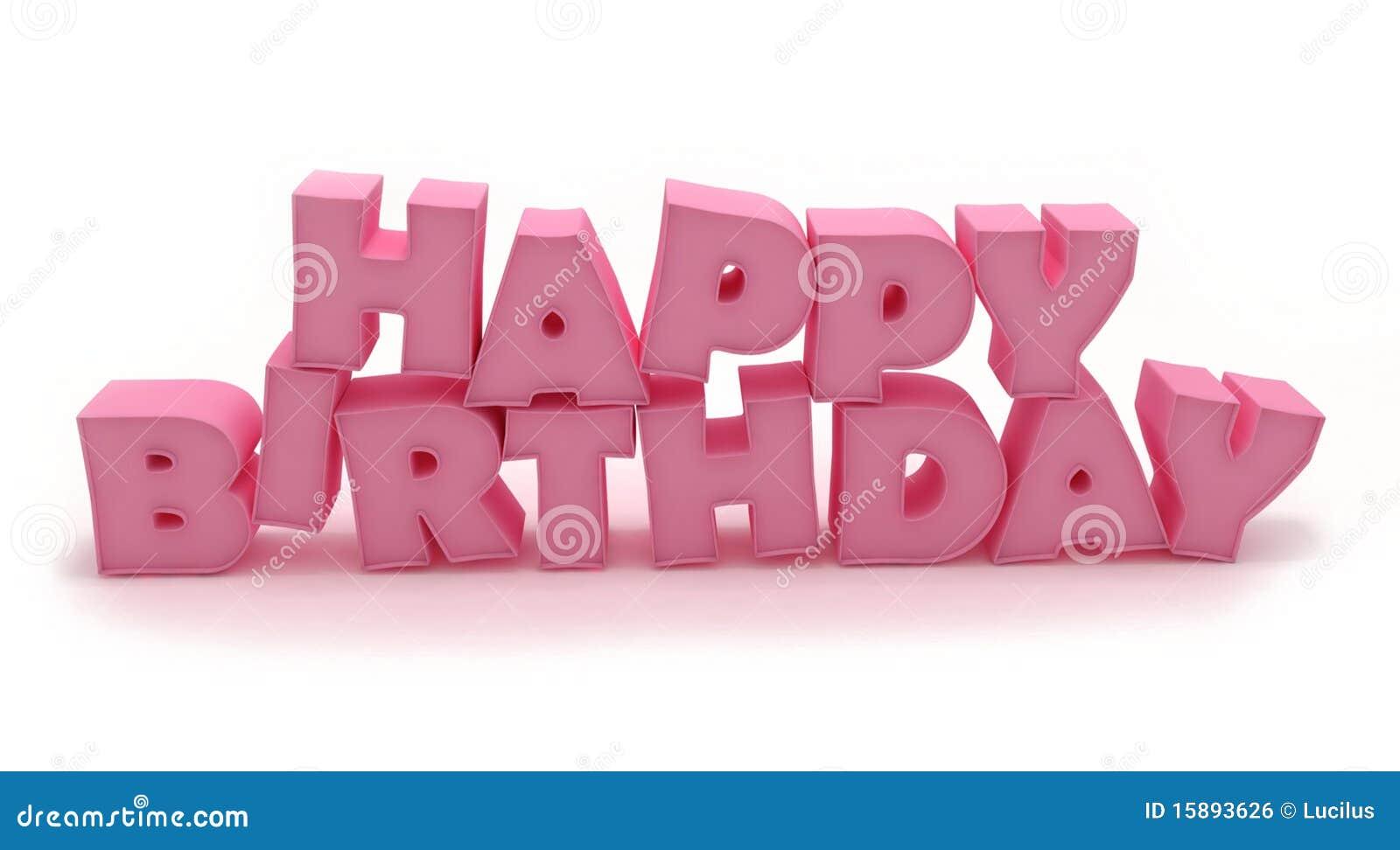 3D Pink Happy Birthday Stock Illustration. Illustration Of