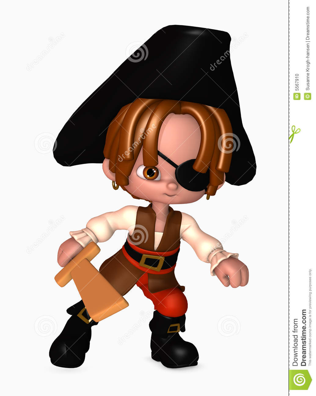 3d pirate boy with sword