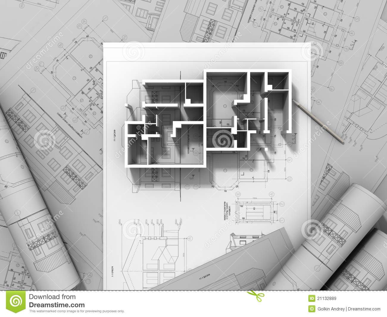 3d Plan Drawing Royalty Free Stock Images Image 21132889