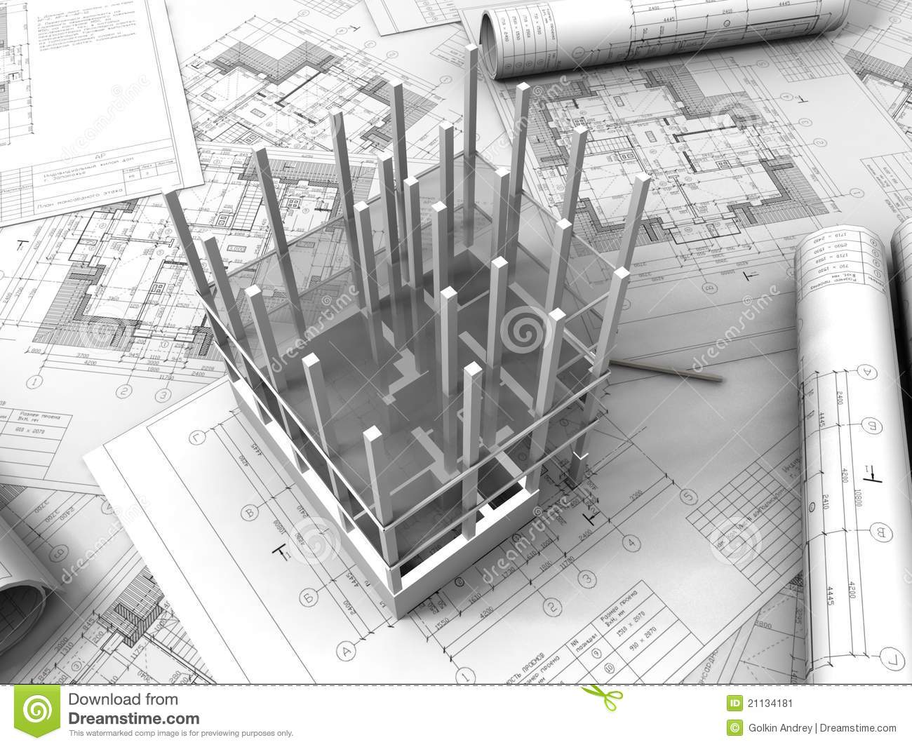 3d plan drawing stock image image 21134181