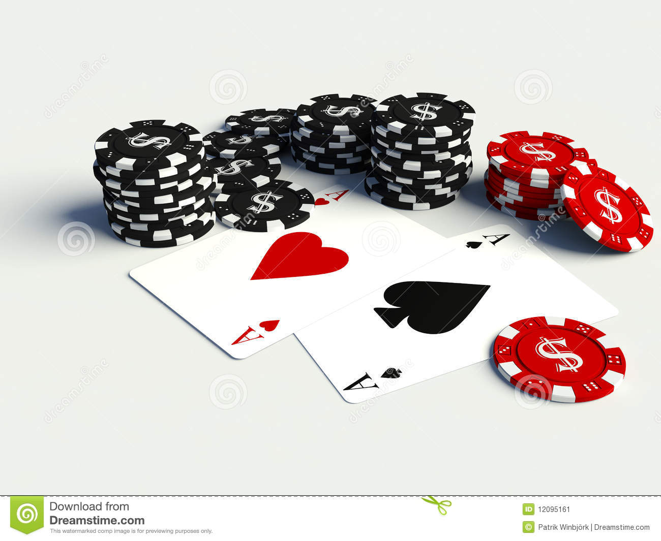 3d poker chips with playing cards stock image image