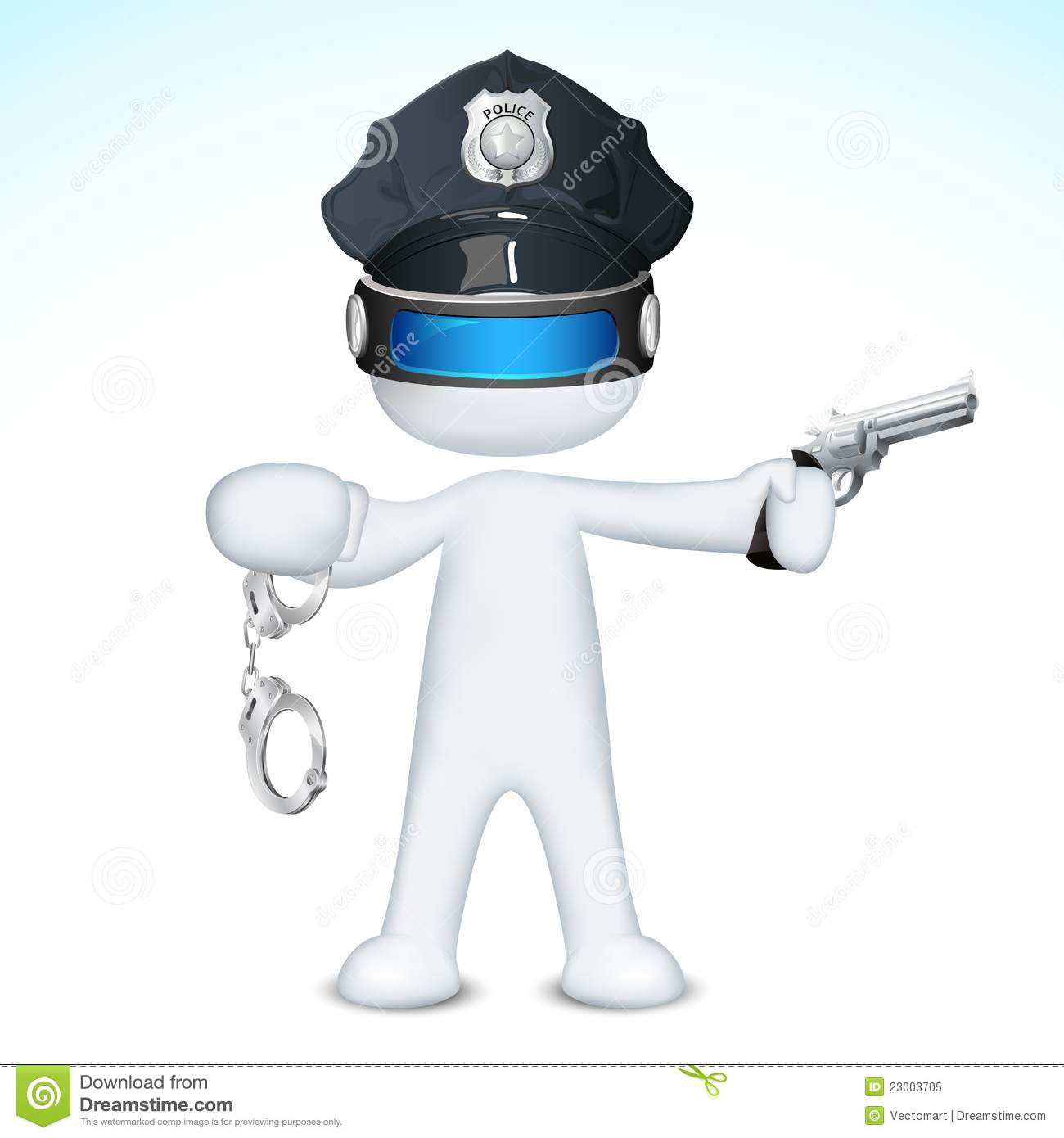 Illustration of 3d police man in vector fully scalable holding pistol.