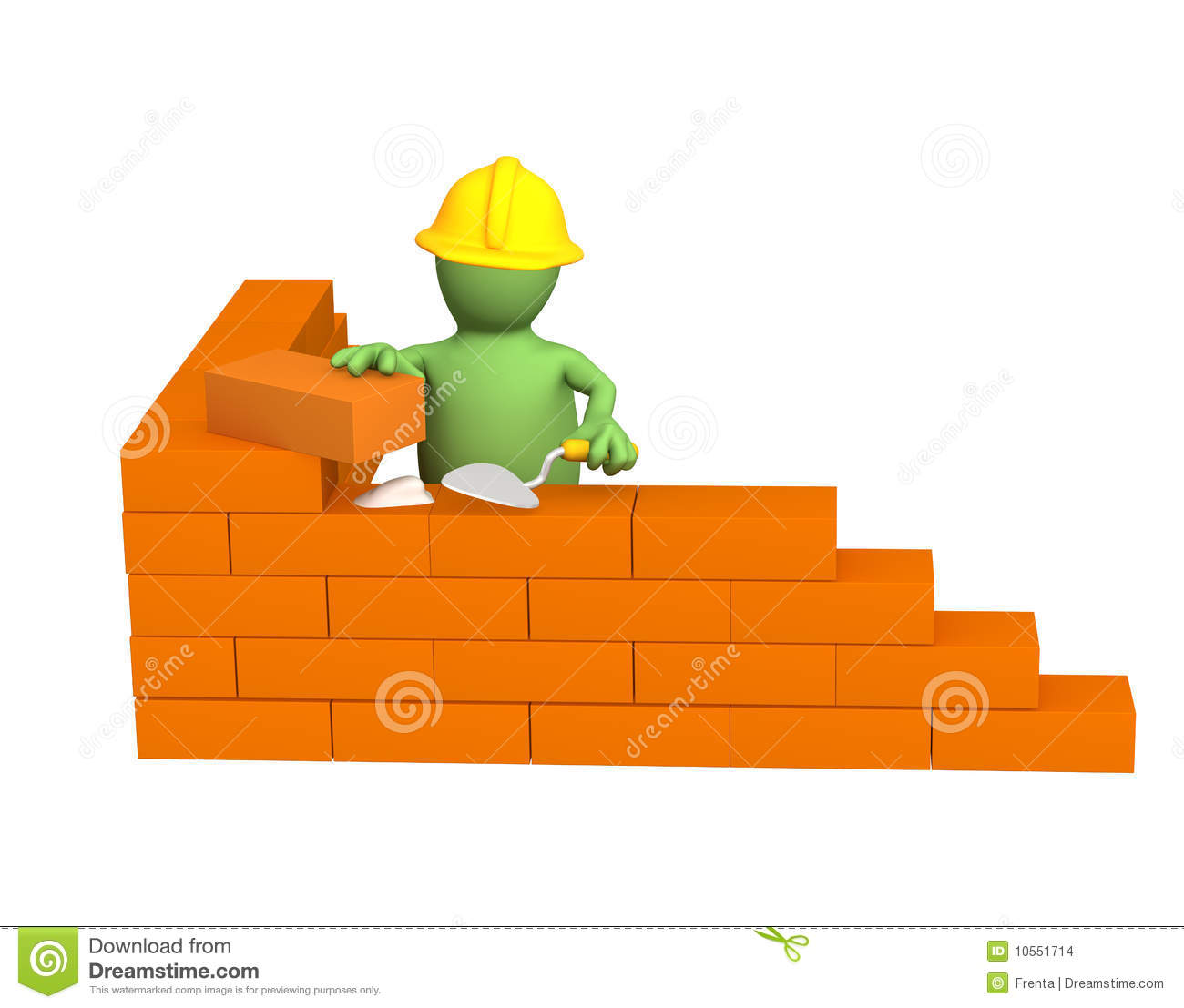 3d puppet builder building a brick wall stock images for 3d setup builder
