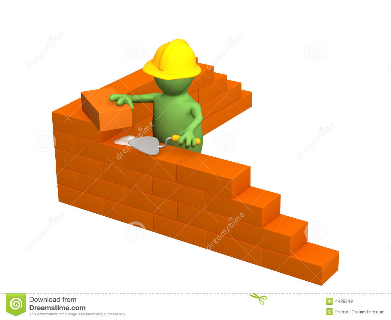 3d puppet builder building a brick wall royalty free for 3d setup builder