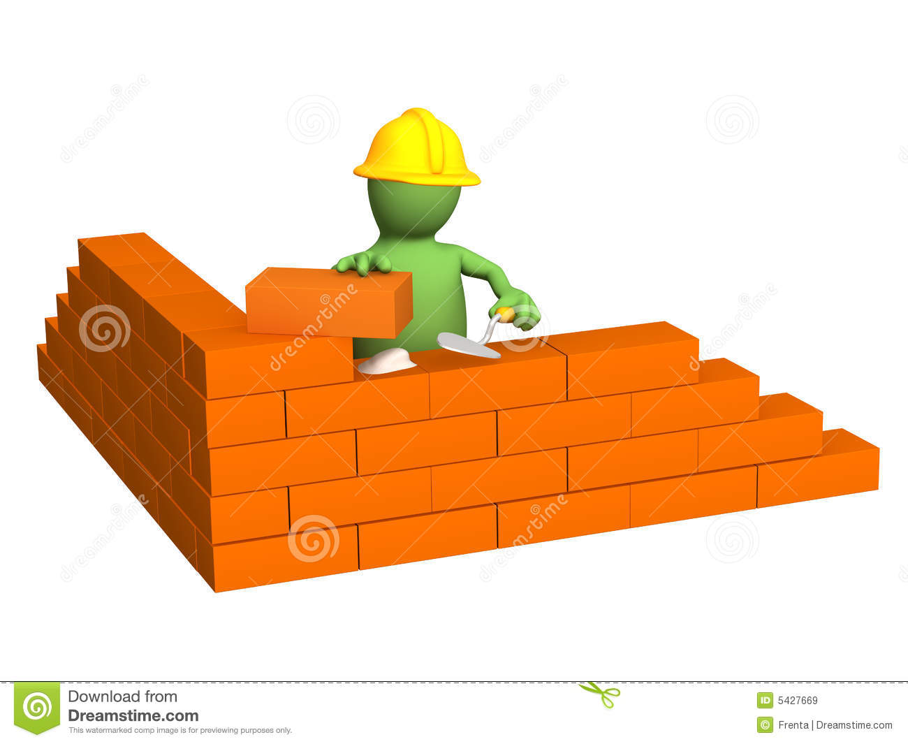 House Builder Tool 3d Puppet Builder Building A Brick Wall Royalty Free