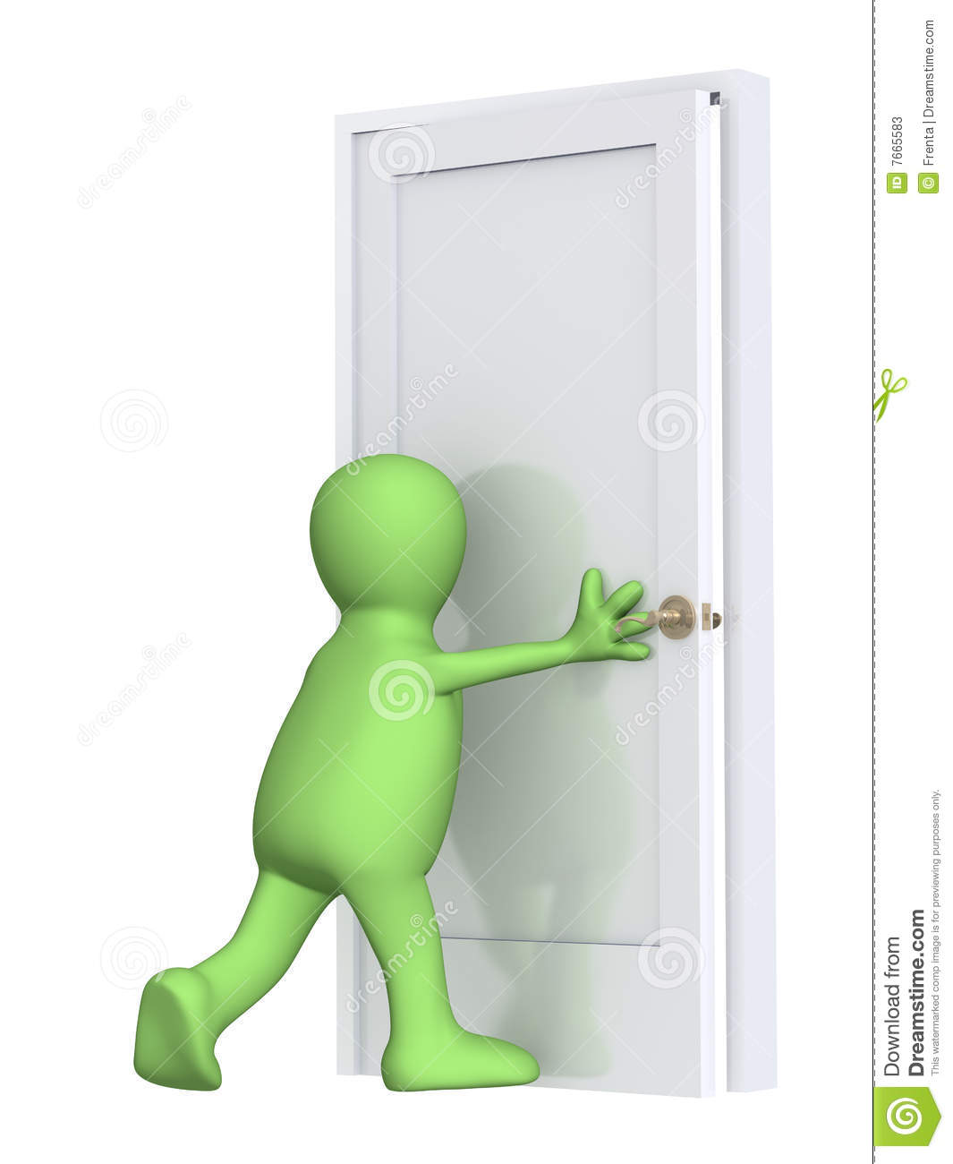 Safety Door Design 3d Puppet Closing A Door Stock Photos Image 7665583