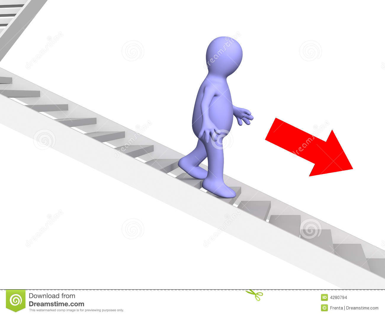 3d Puppet Going Down Downwards On A Ladder Stock Images