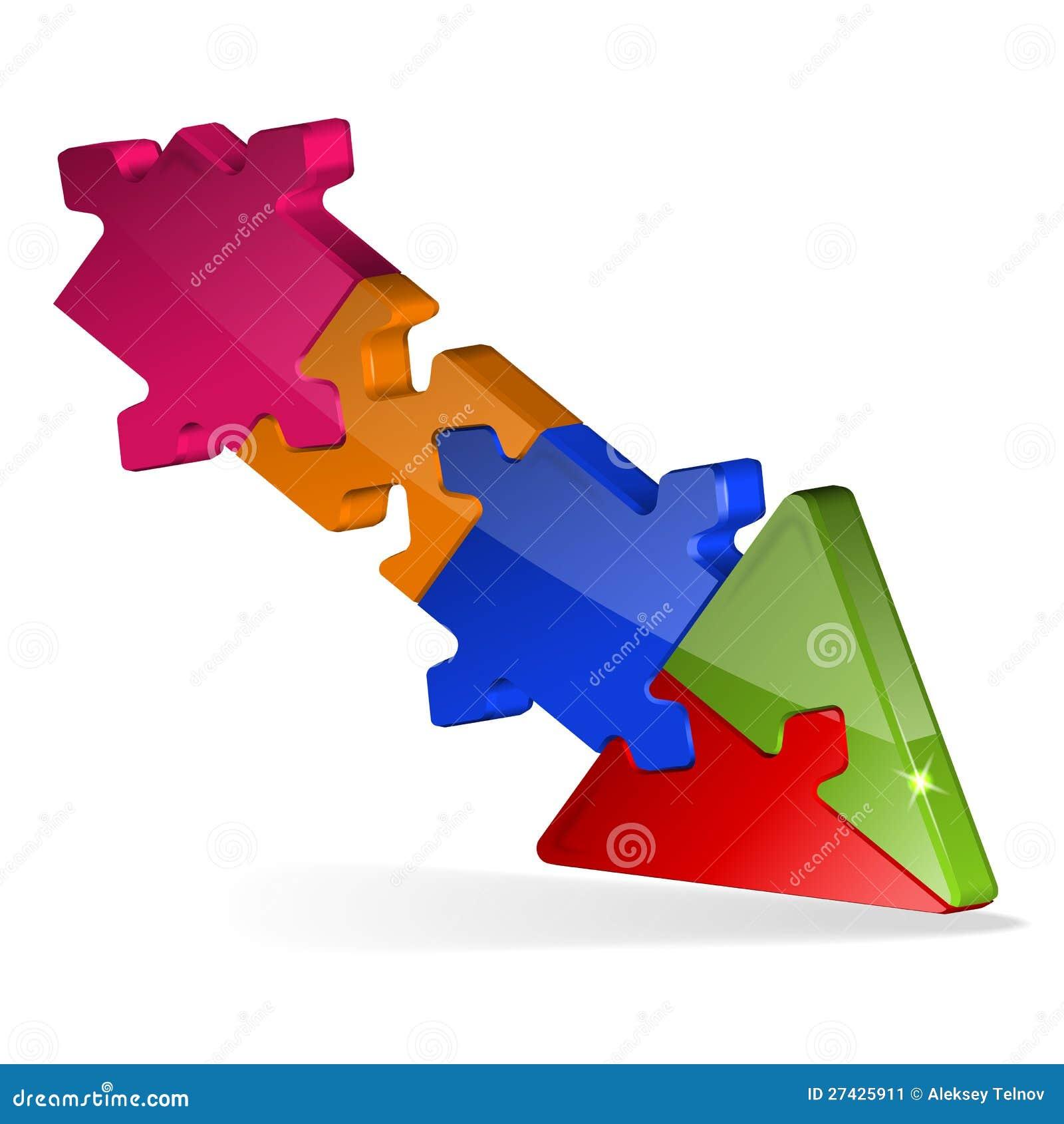 3d Puzzle Jigsaw Arrow Stock Image Image 27425911