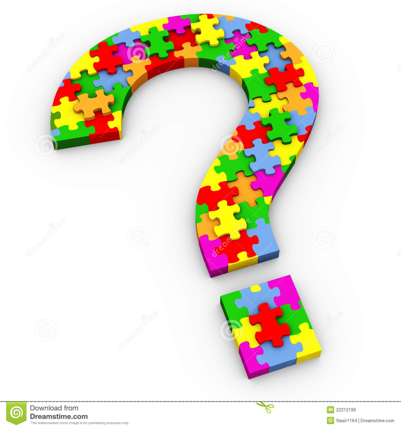 3d question mark symbol made of colorful puzzle pieces.