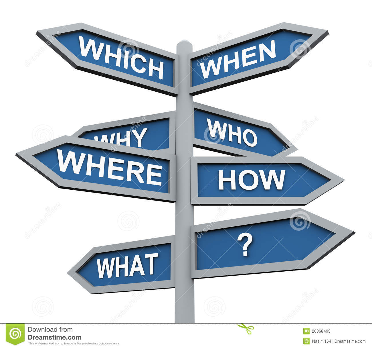 3d Questions Direction Sign Stock Photos - Image: 20868493