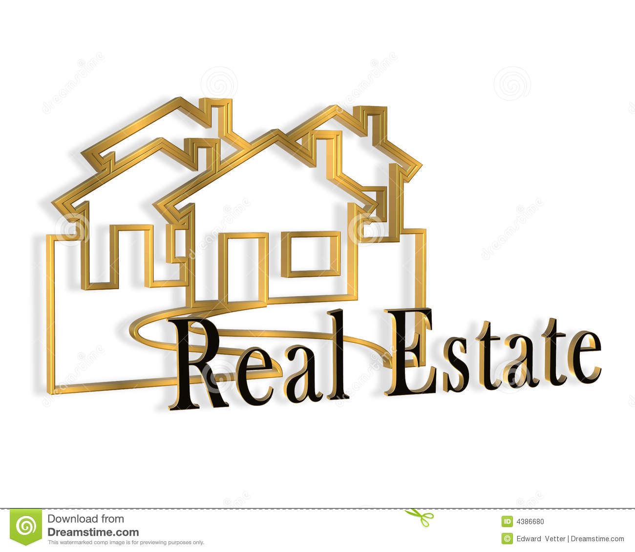 Stock Quotes Free Real Time: 3D Real Estate Logo Stock Illustration. Illustration Of