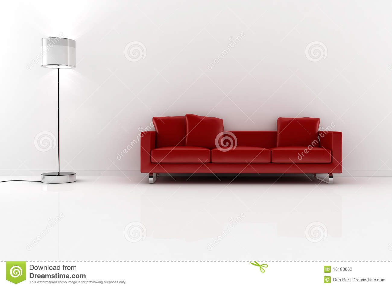 3d red couch and white walls