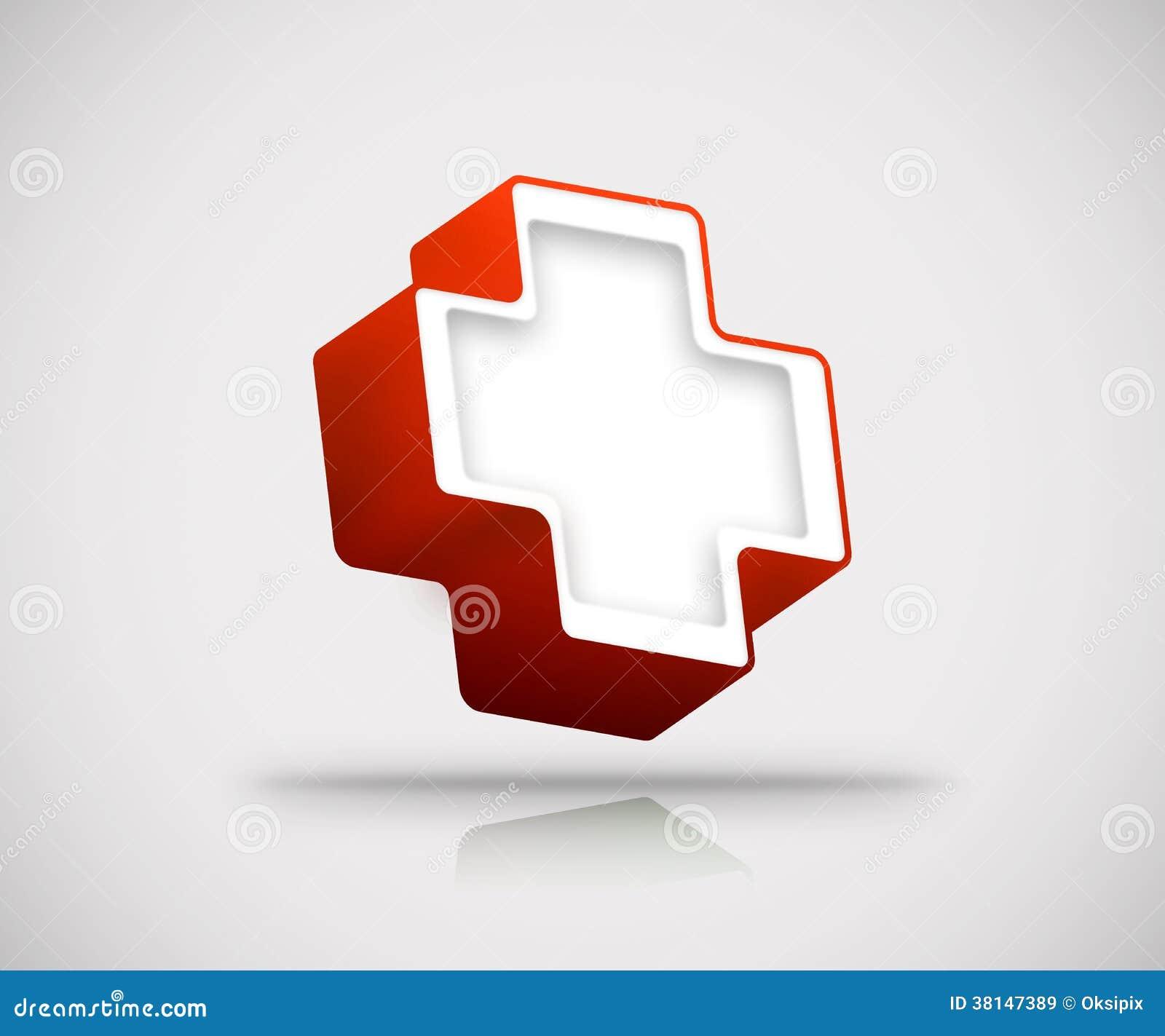 3d red cross stock illustration  Illustration of shadow