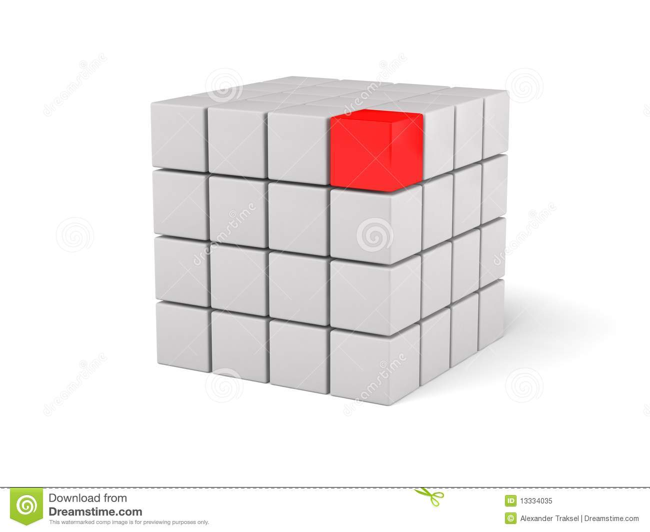 3d red leader, on white background