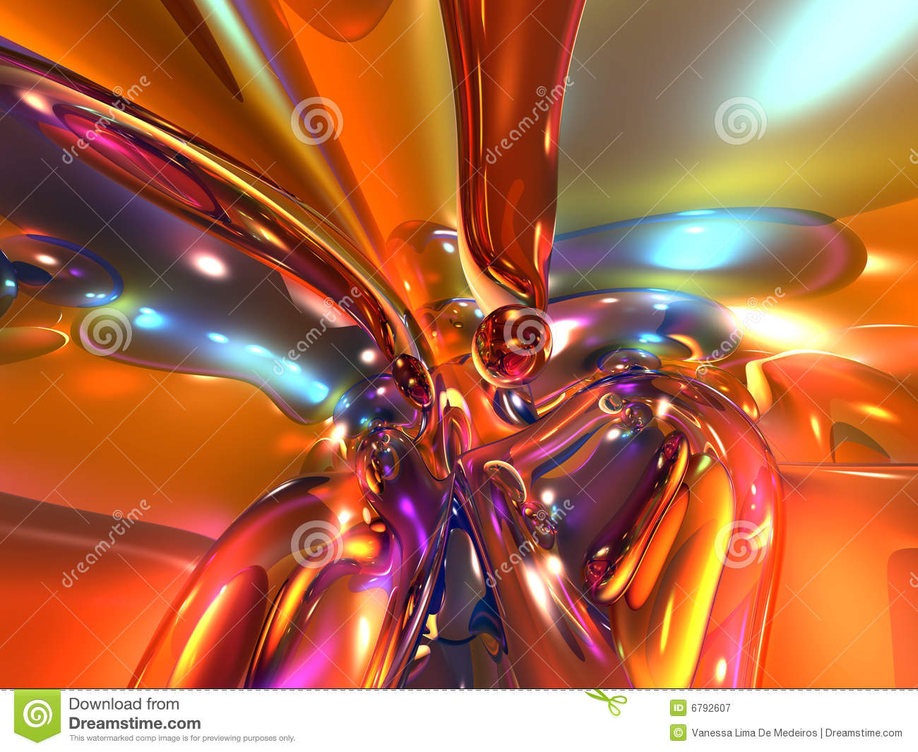 3D Red Orange Colorful Bright Abstract Glass