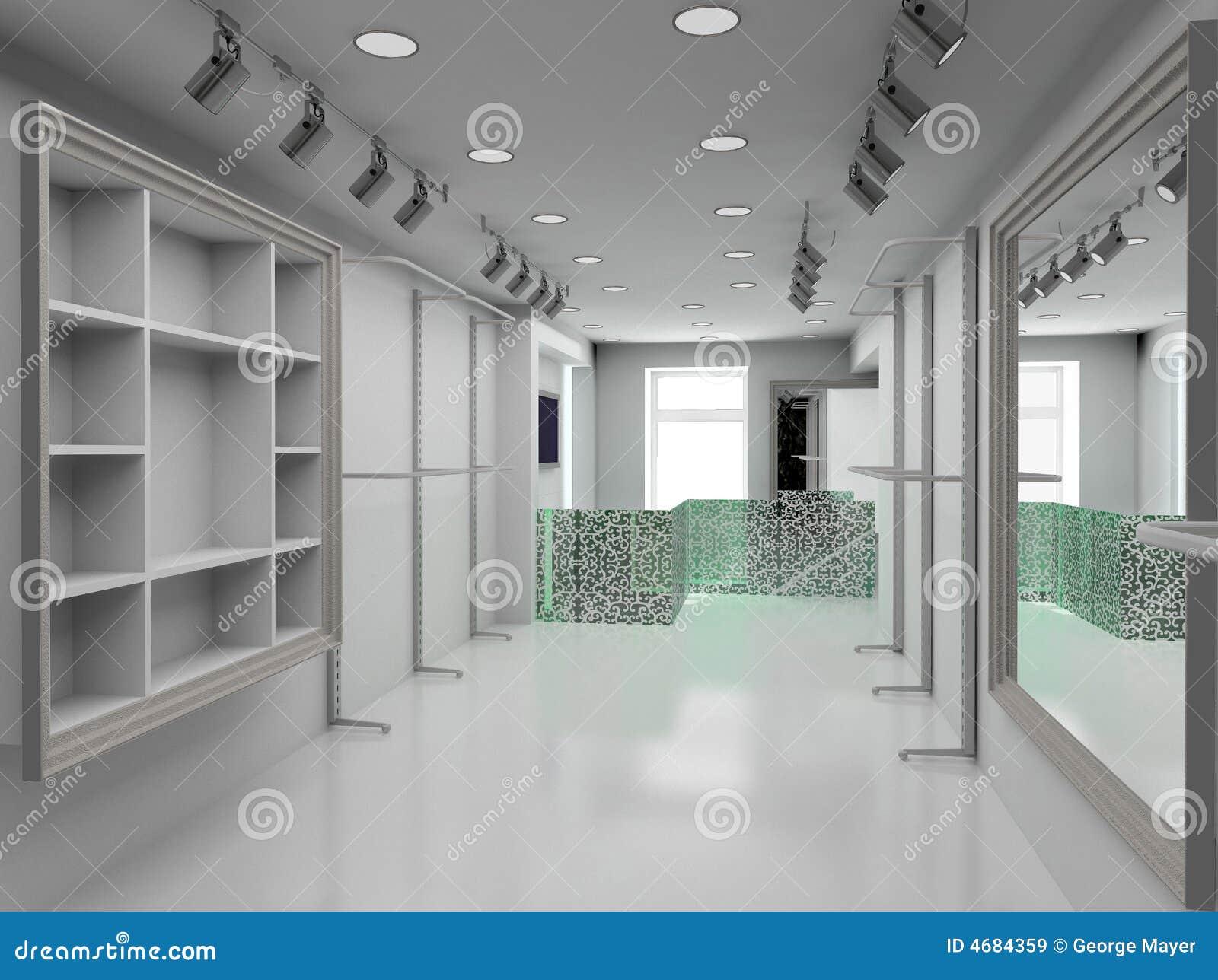 3D rendem o interior moderno da loja
