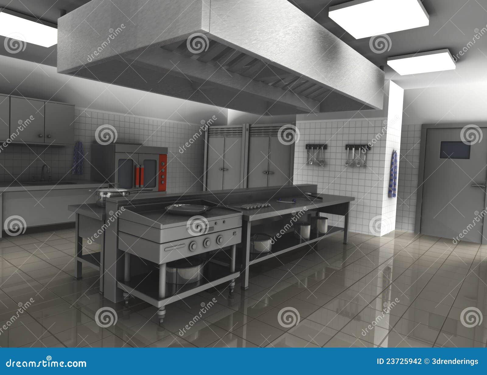 3d rendent de la cuisine professionnelle de restaurant for Plan cuisine professionnelle 3d
