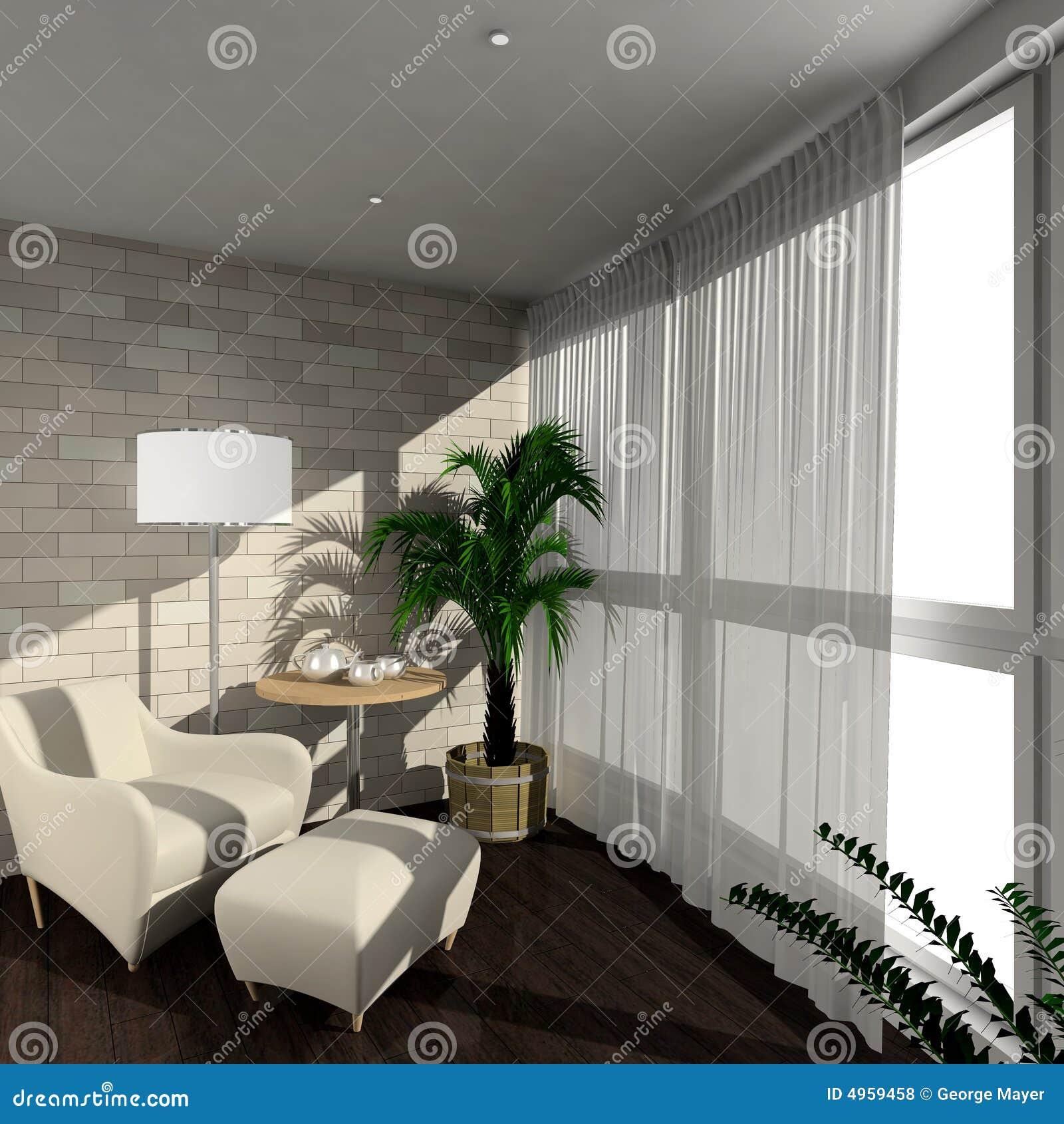 3d rendent l 39 int rieur moderne de la v randa photos libres de droits image 4959458. Black Bedroom Furniture Sets. Home Design Ideas