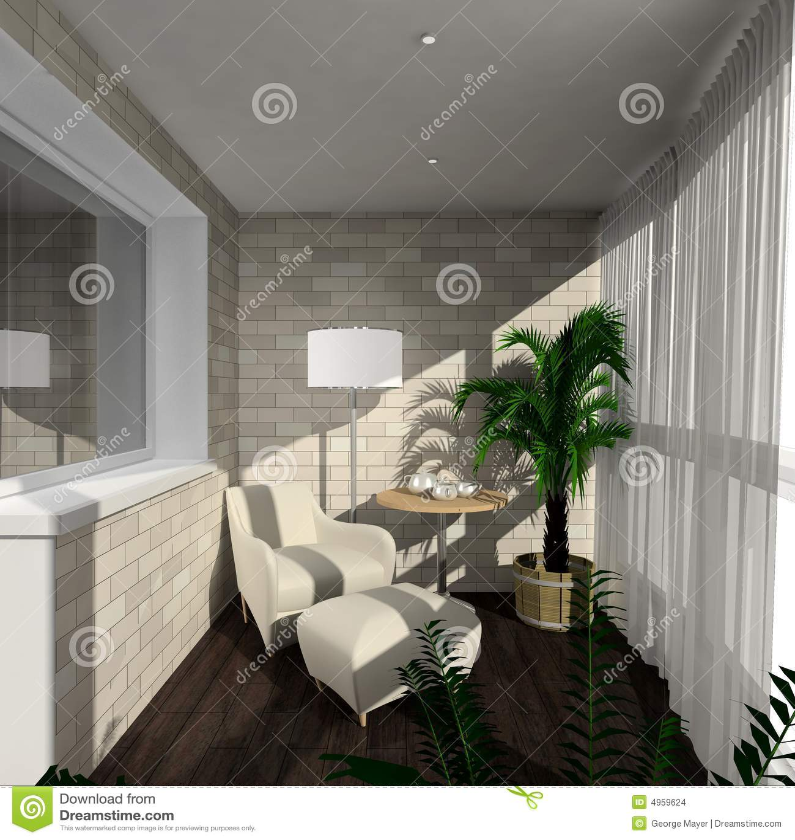 3d rendent l 39 int rieur moderne de la v randa images stock for Decoration veranda interieur