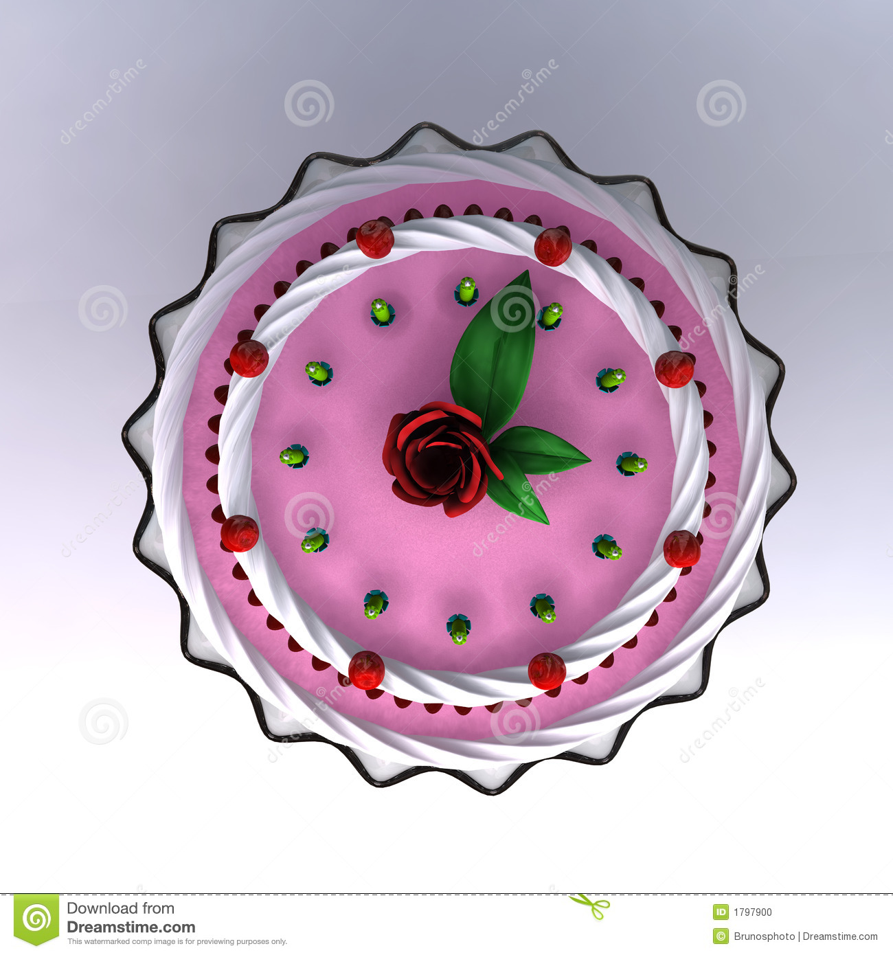A 3D Render Of Birthday And Wedding Cake Stock Photo ...