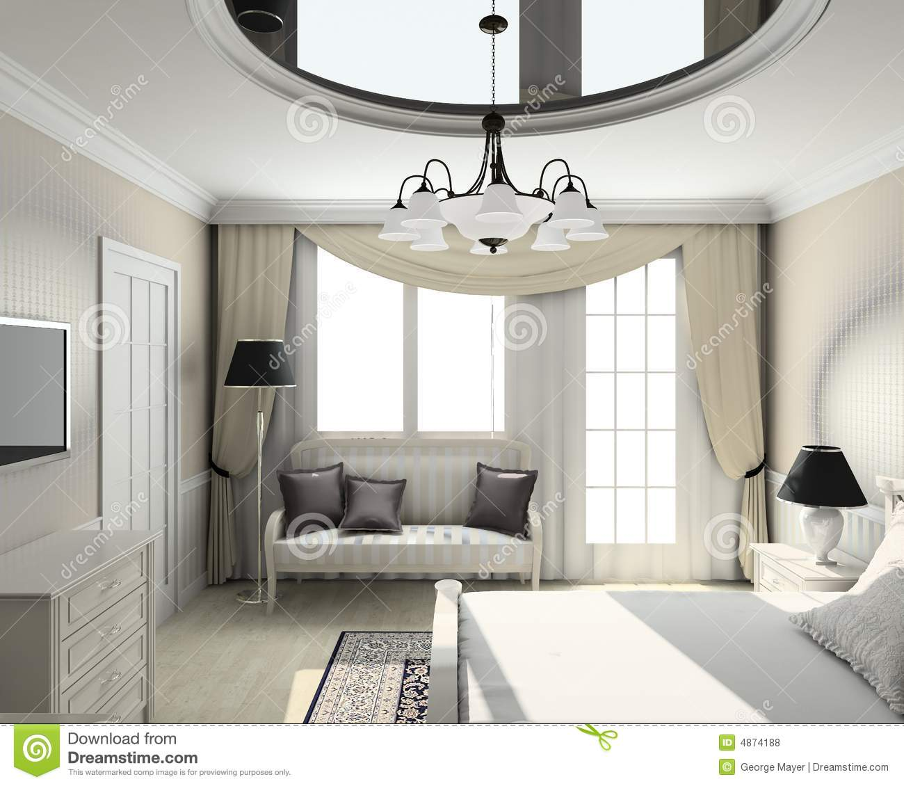 16 Attractive Window Seat Designs For Pleasant Relaxation: 3D Render Classic Interior Of Bedroom Royalty Free Stock