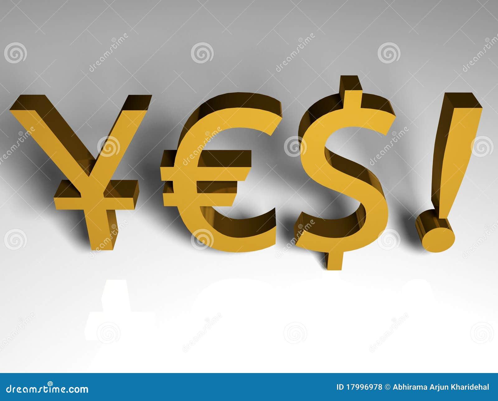3d Render Of Japanese Euro And Dollar Symbols Stock Illustration