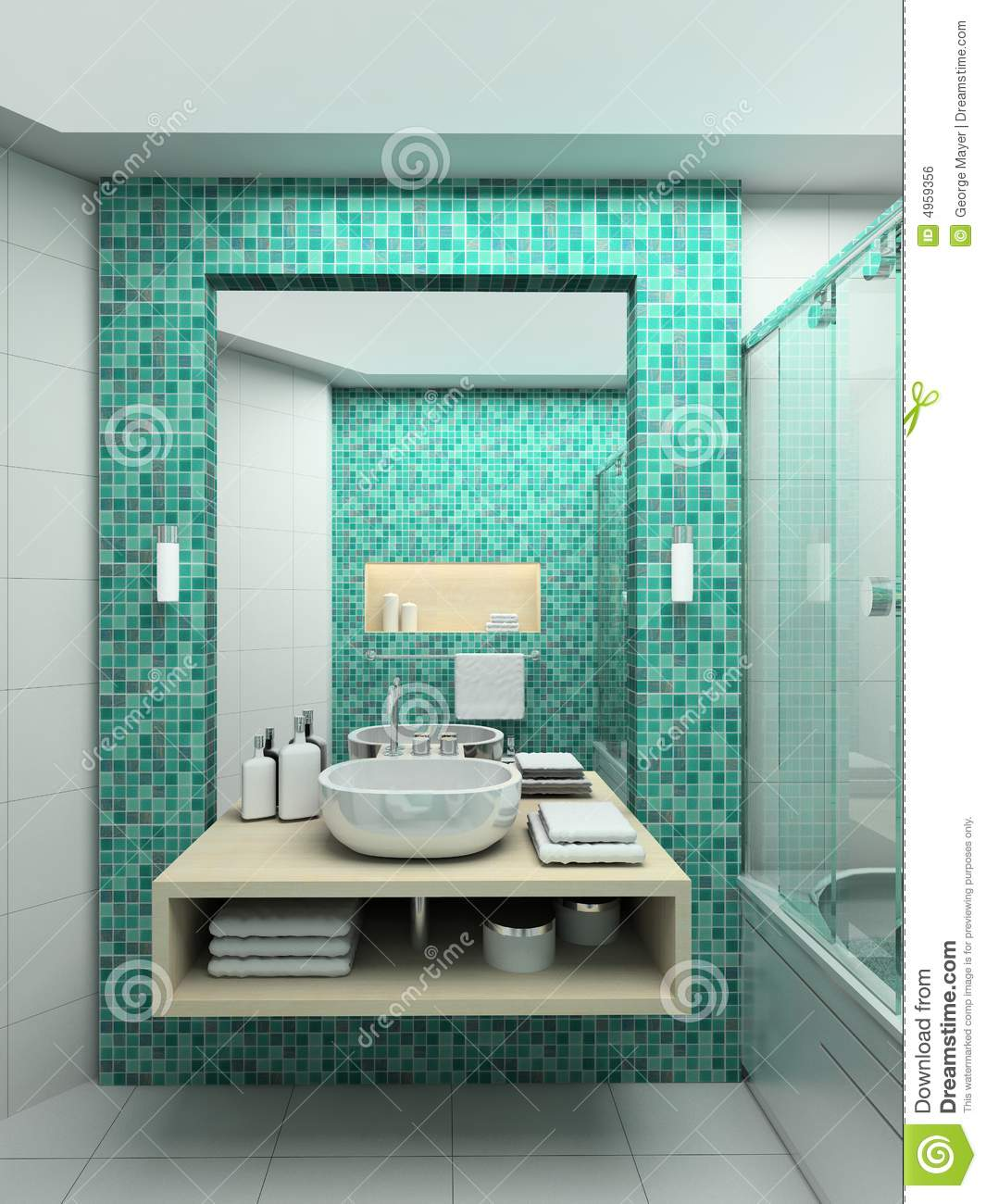 3d render modern interior of bathroom royalty free stock for Bathroom design 3d