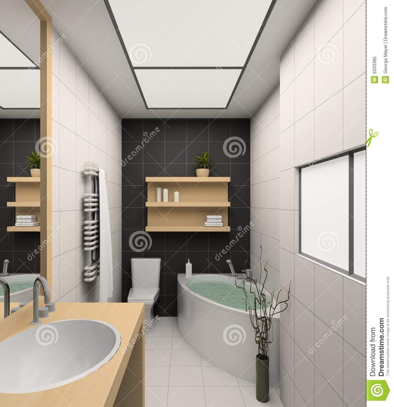 Interior of the modern bathroom 3d stock photography for Modern interior bathroom
