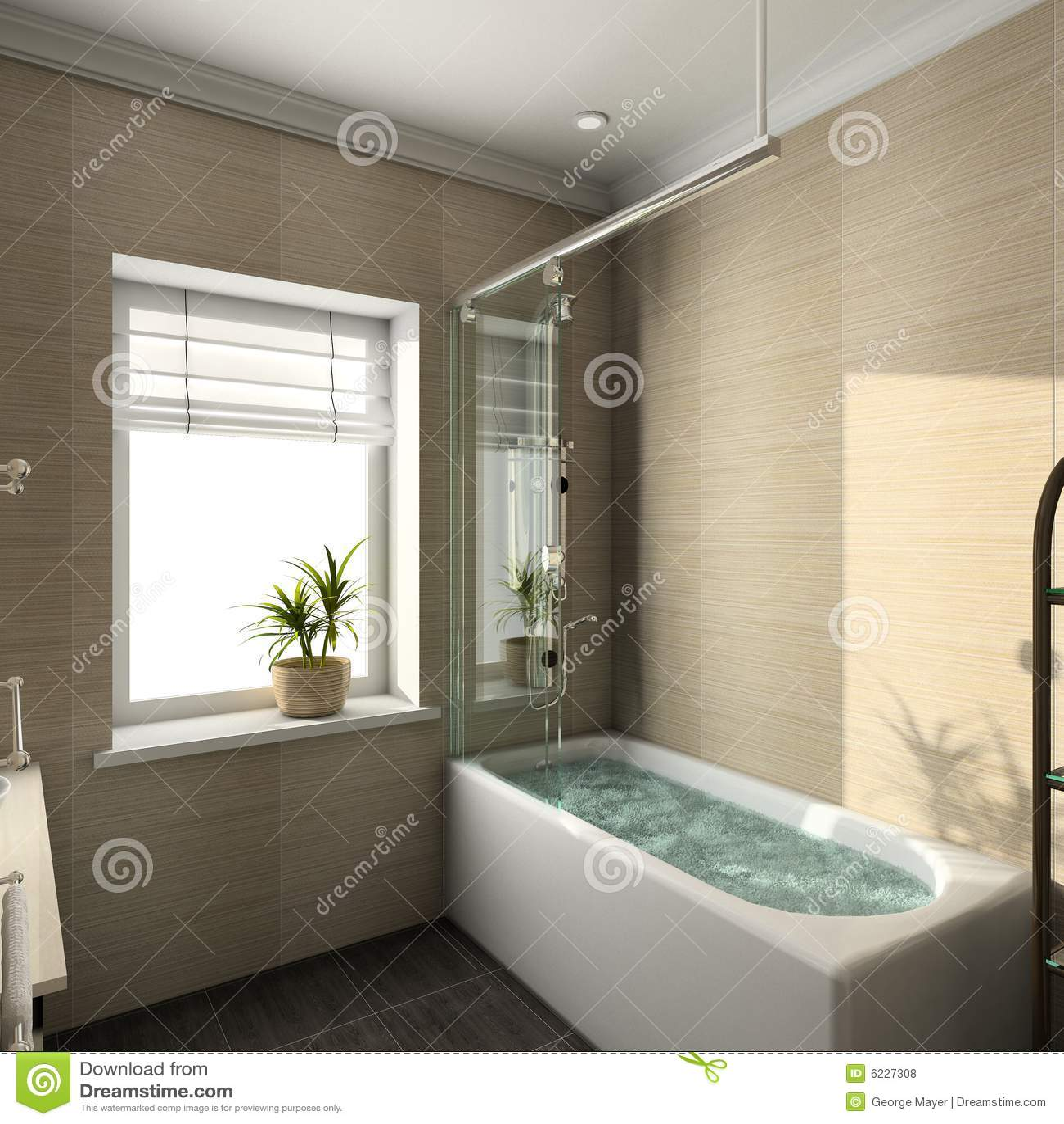 3d Render Modern Interior Of Bathroom Royalty Free Stock