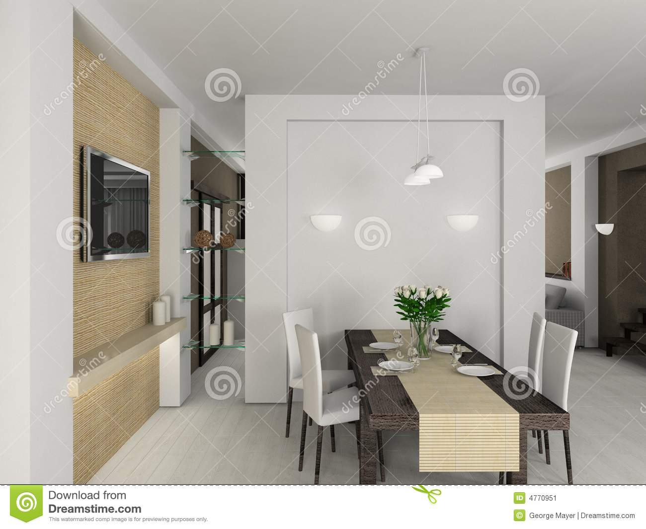 3d Render Modern Interior Of Dining Room Stock Image