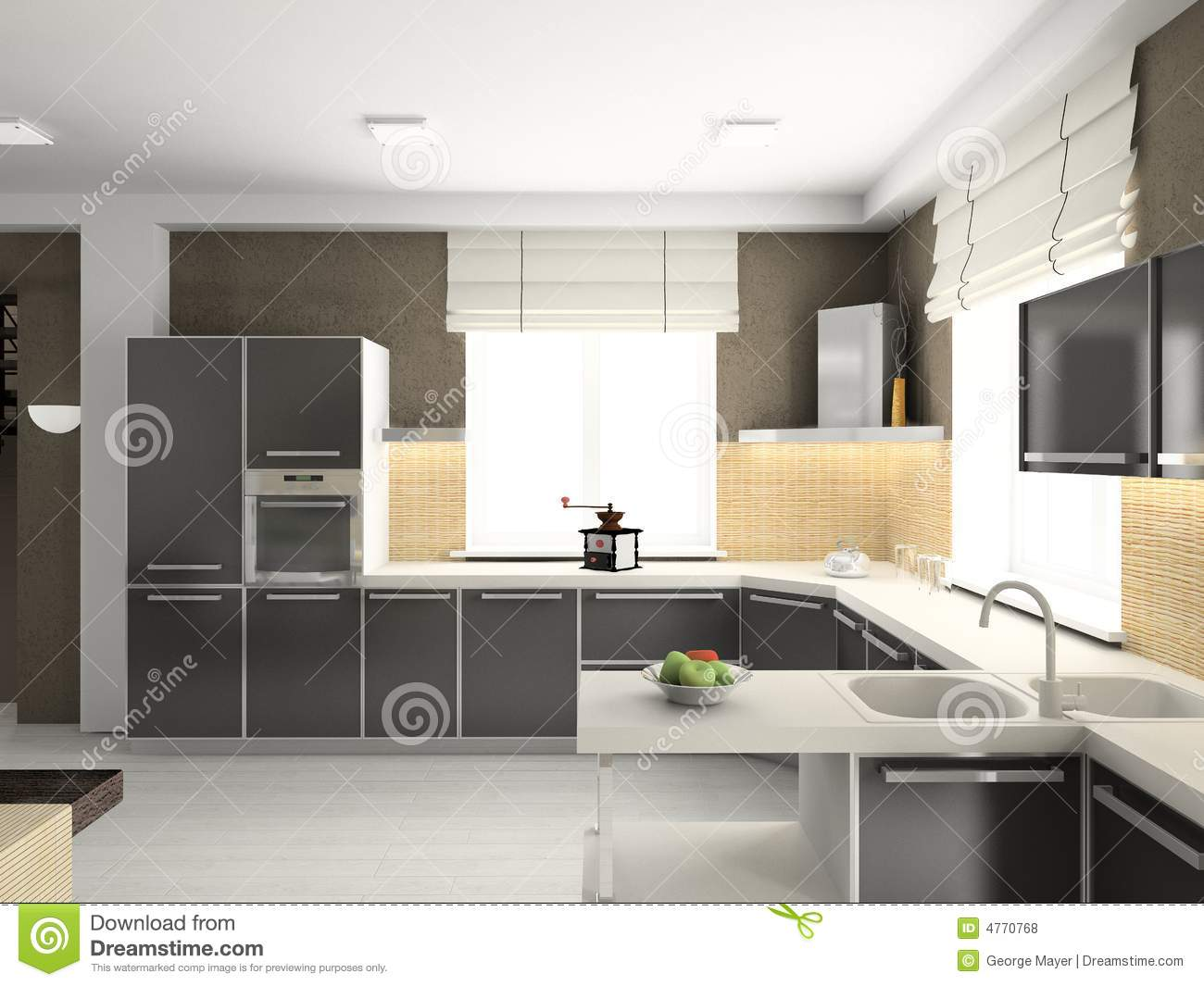 3d Render Modern Interior Of Kitchen Royalty Free Stock