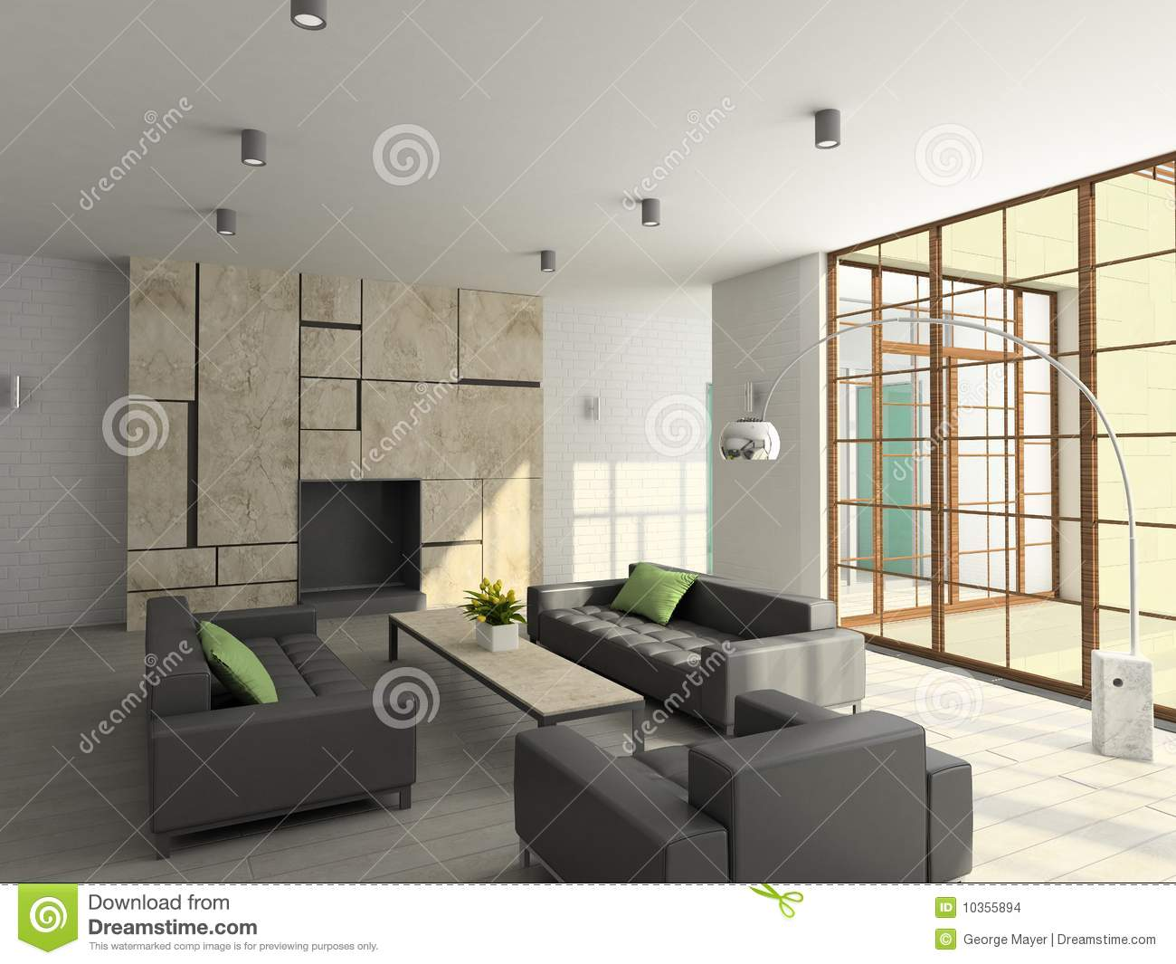 3d render modern interior of living room stock images image