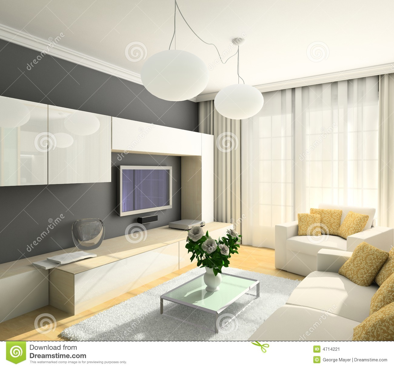 3d render modern interior of living room stock image for Modern drawing room interior