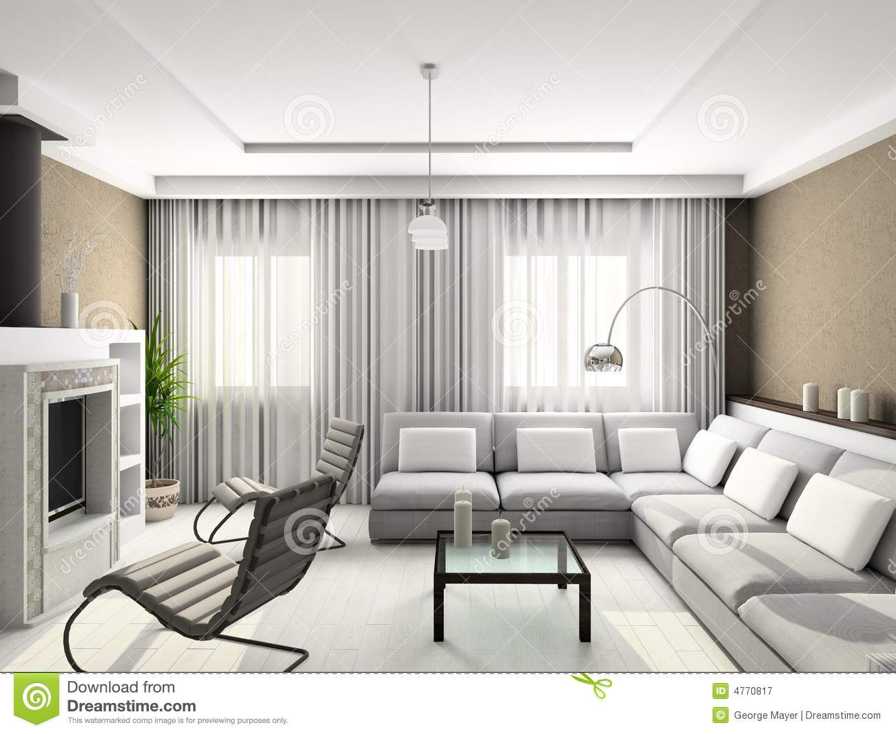 3d render modern interior of living room stock image for 3d room design