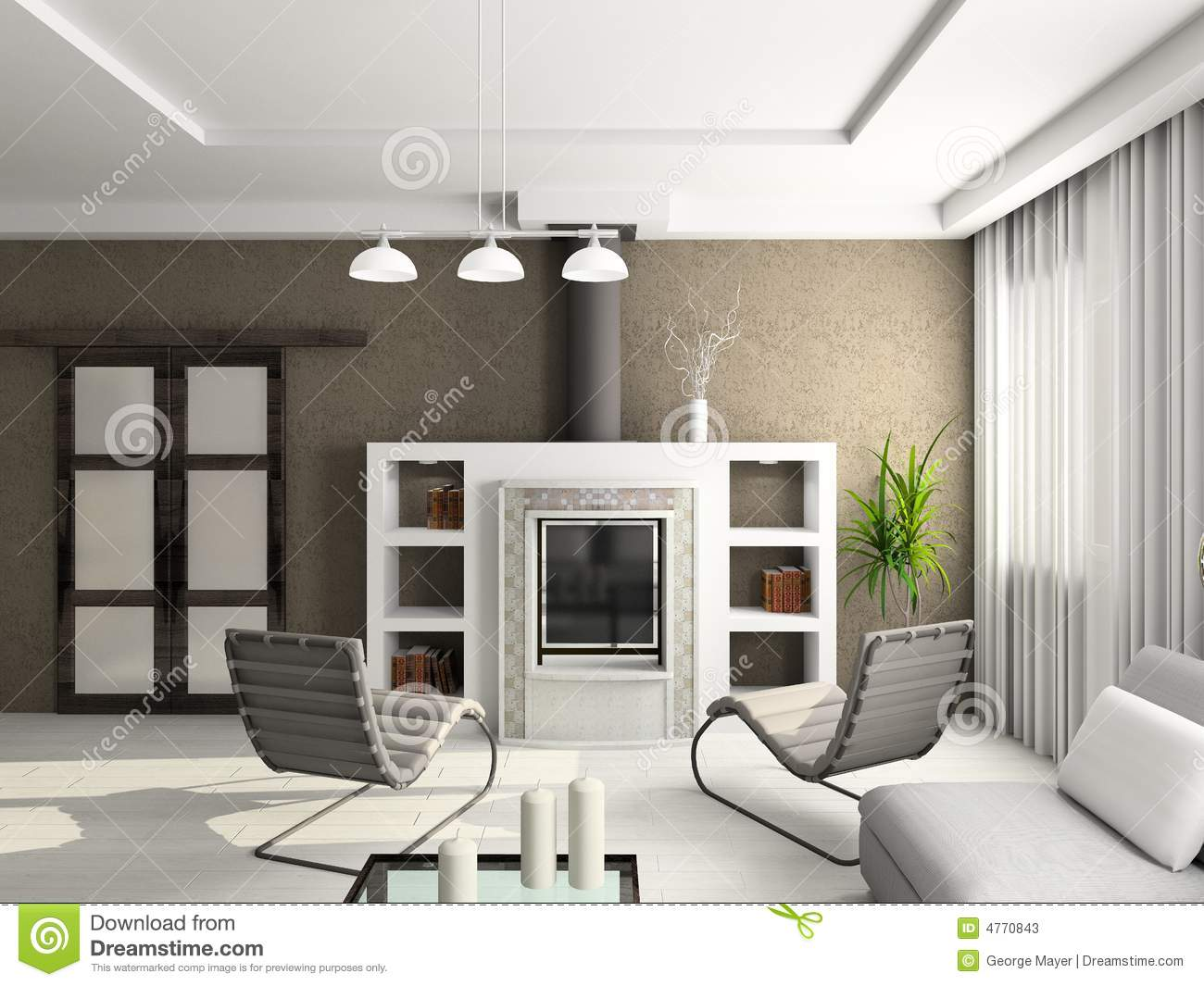 3d render modern interior of living room stock photos - Modern living room decoration ...