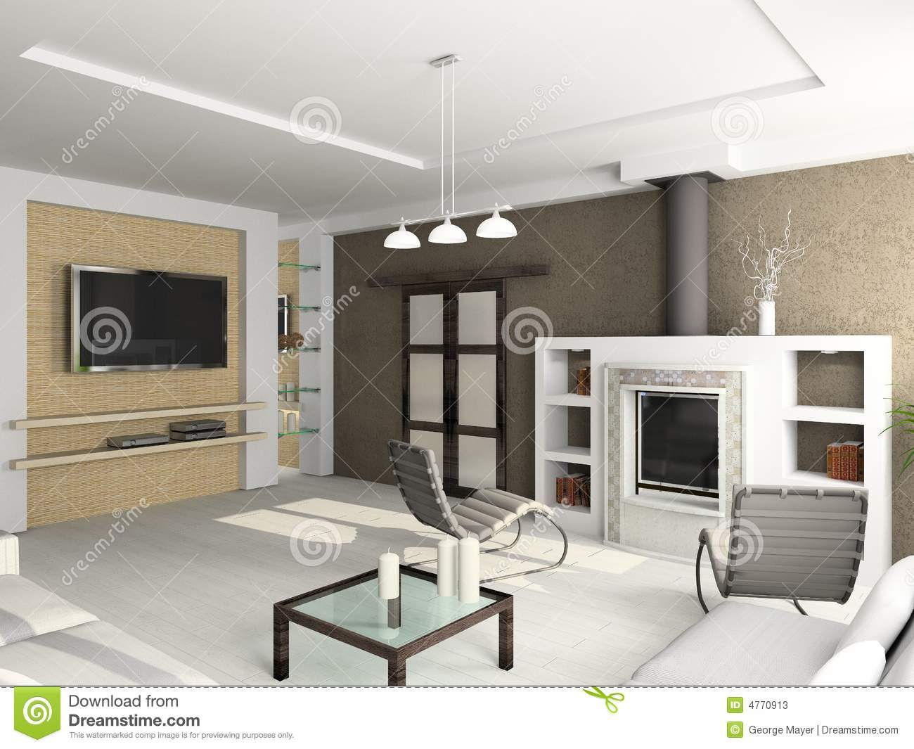 3D Render Modern Interior Of Living Room Stock Photos