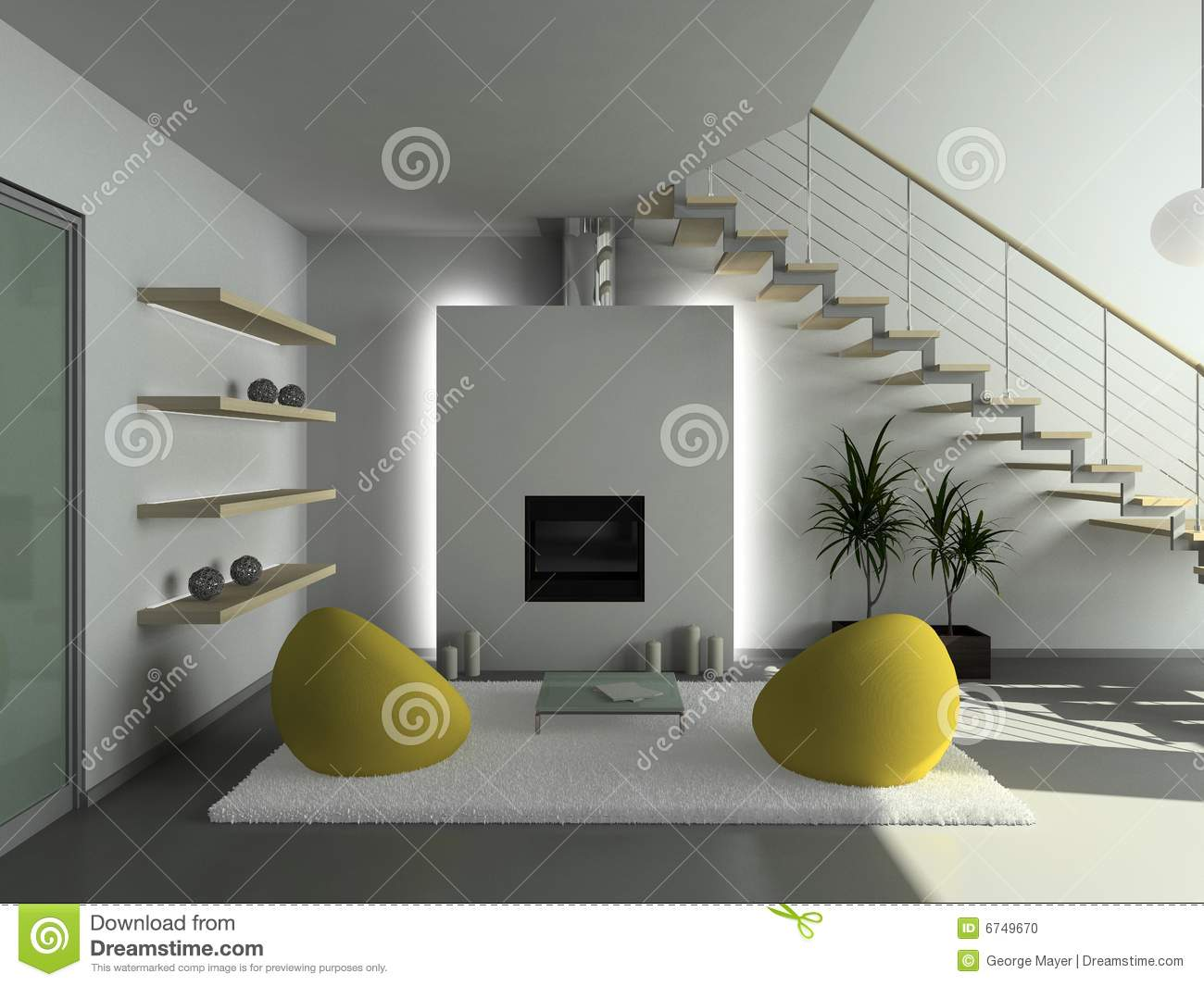 Moderne Woonkamer Set : D render modern interior of living room stock ...