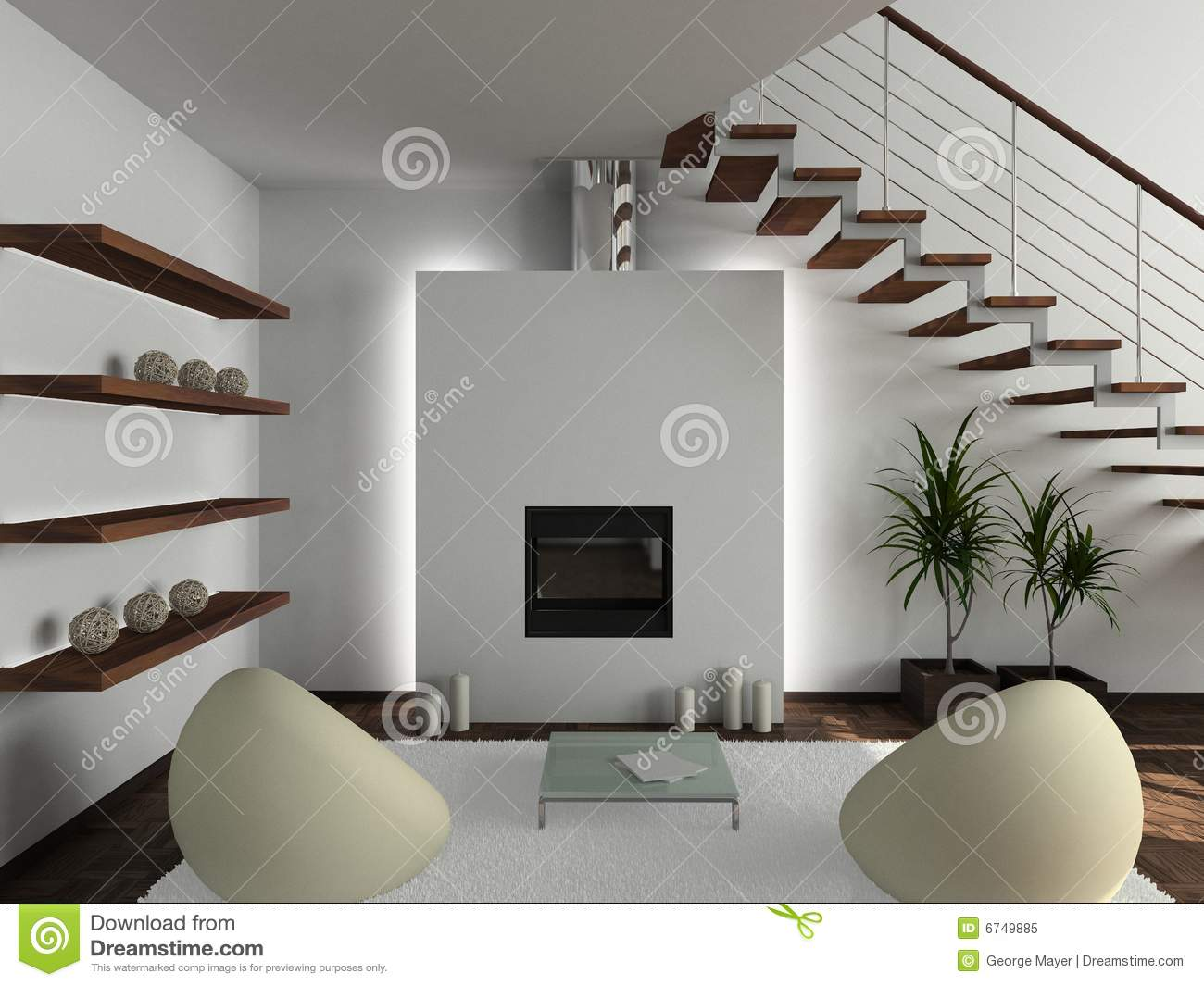 3d render modern interior of living room royalty free for Modern interior