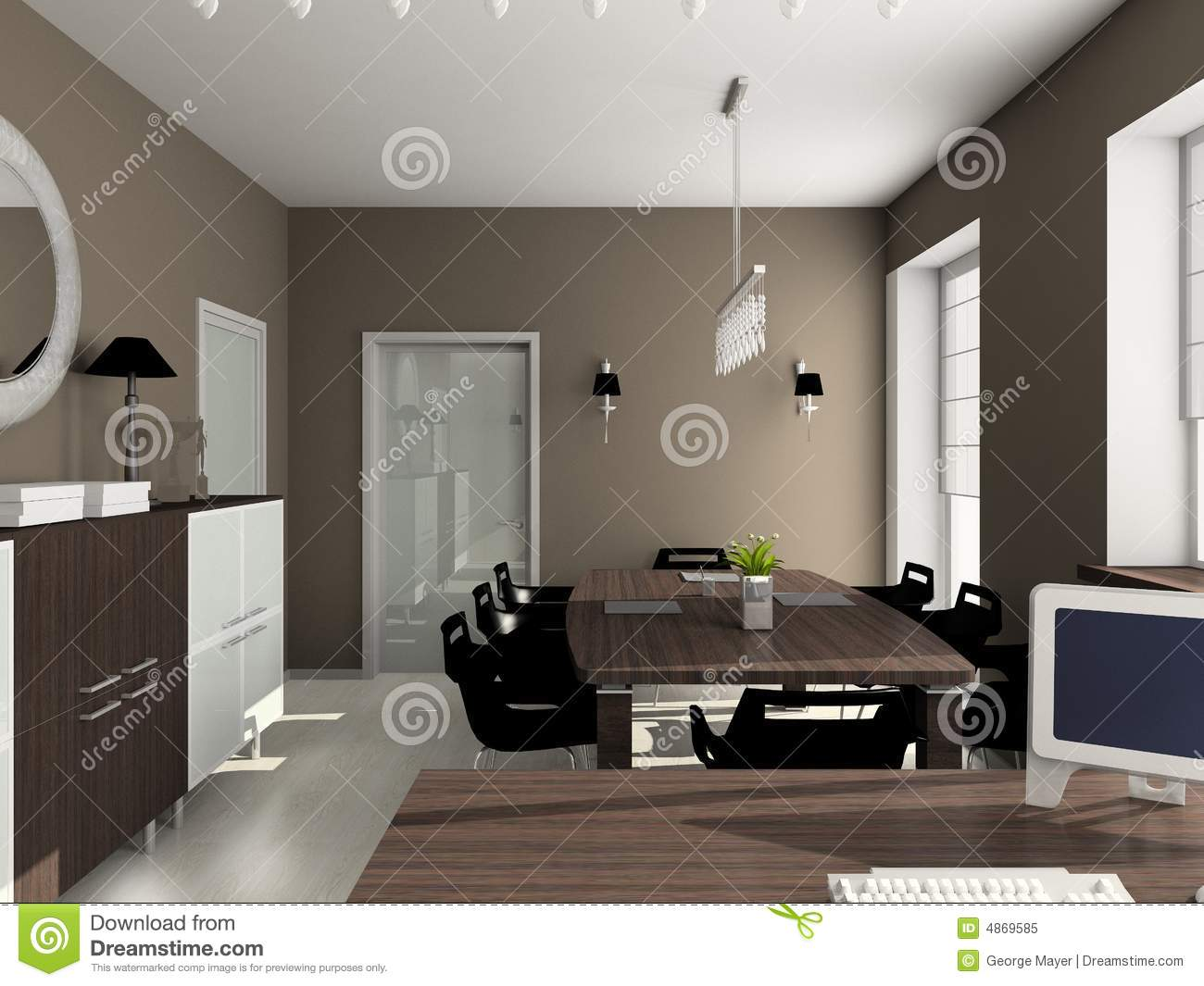 3d render modern interior of office royalty free stock for Office design 3d