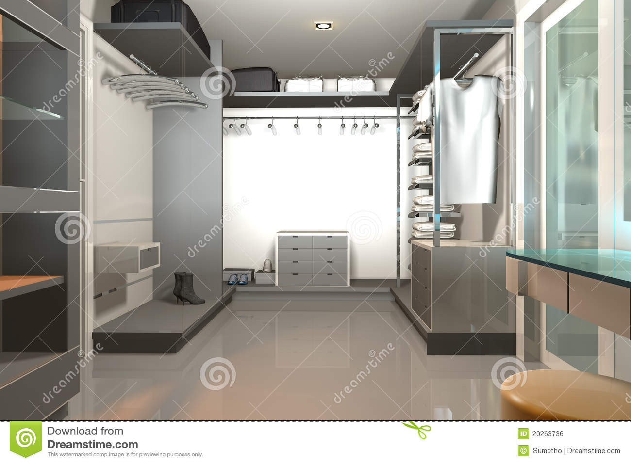 3D Render Modern Interior With Walk in closet Royalty Free Stock