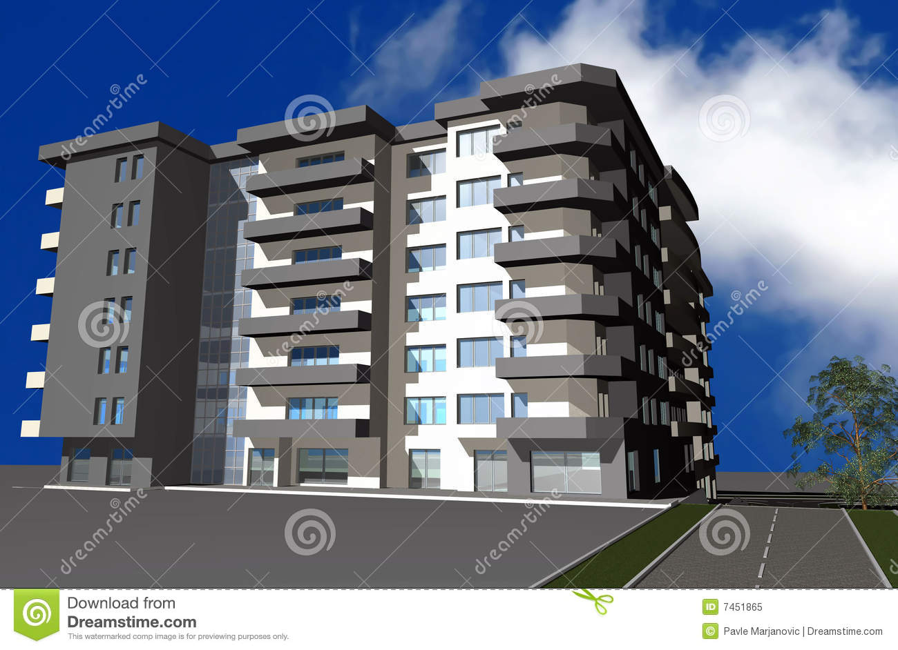 3d render of modern residential building stock Modern residential towers