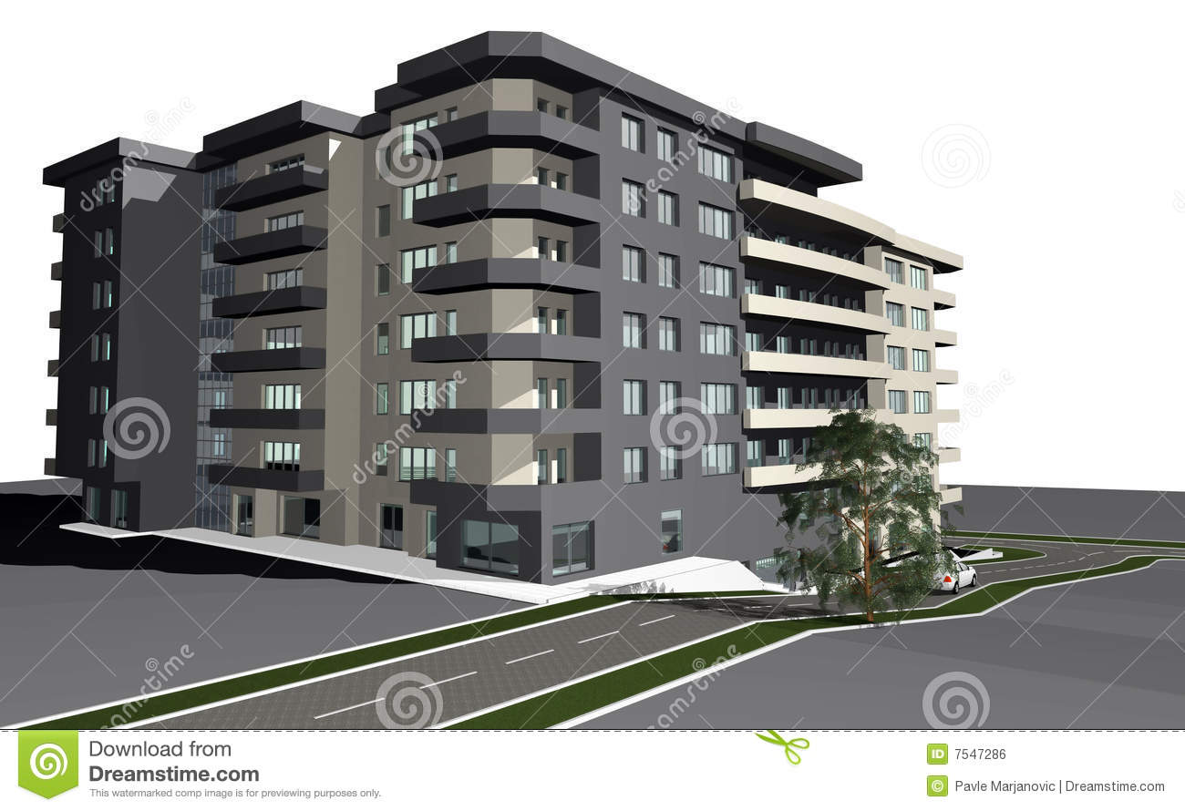 3d Render Of Modern Residential Building Stock