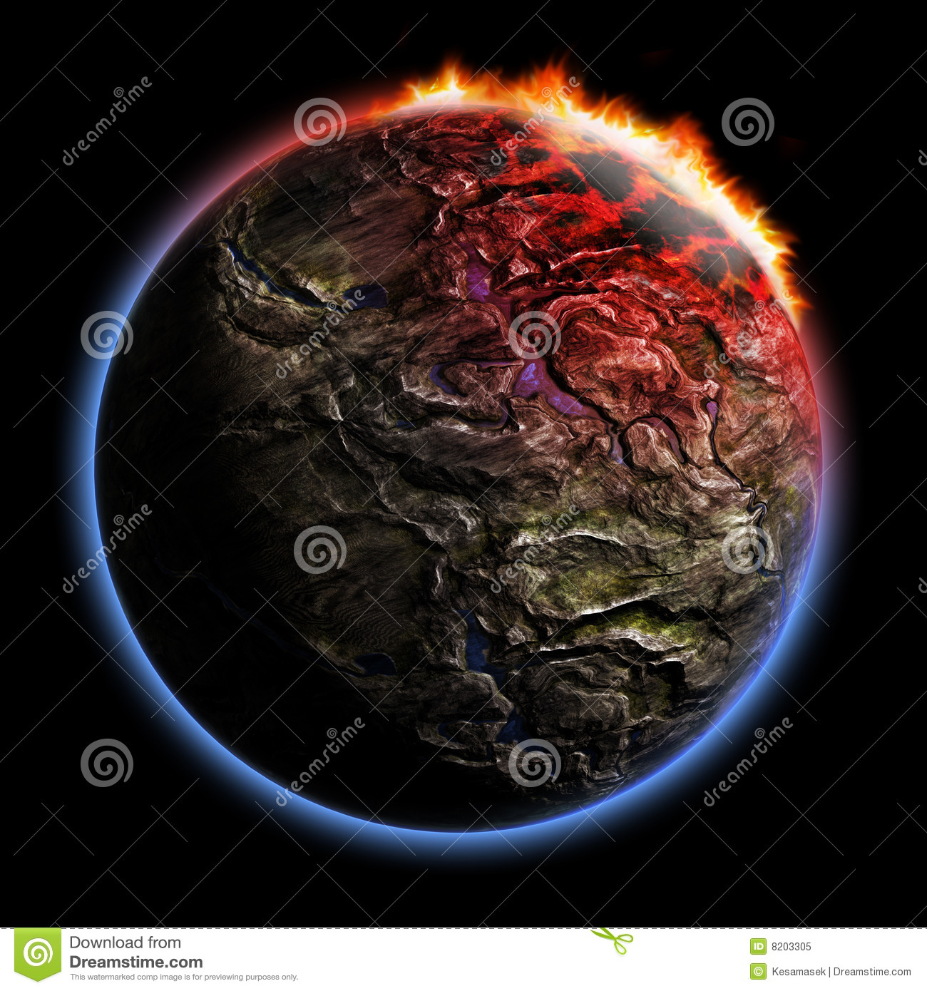 3D Render Planet With Fire Corona Effect Stock Illustration